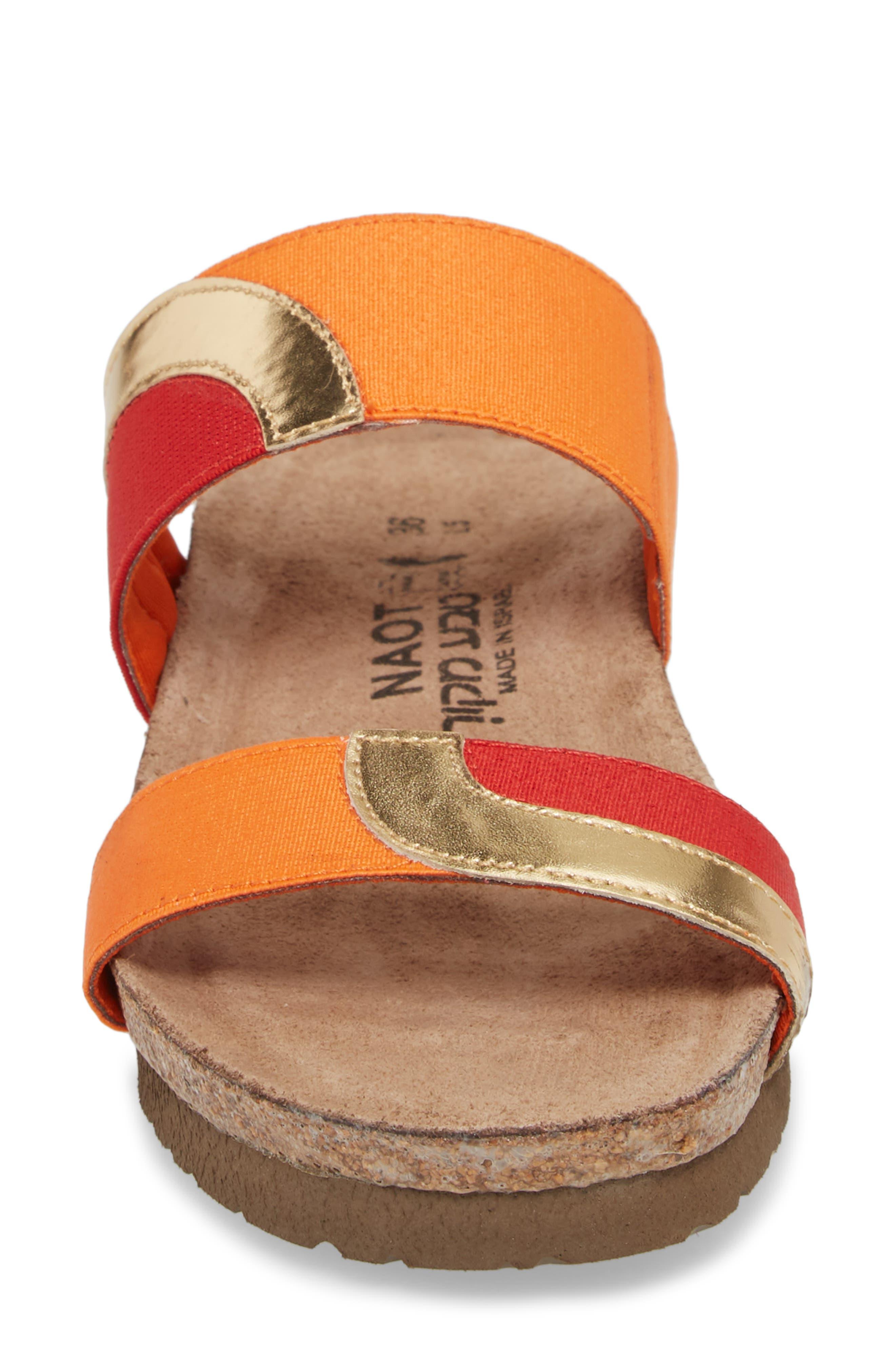 Frankie Slide Sandal,                             Alternate thumbnail 4, color,                             Red/ Orange/ Gold Leather