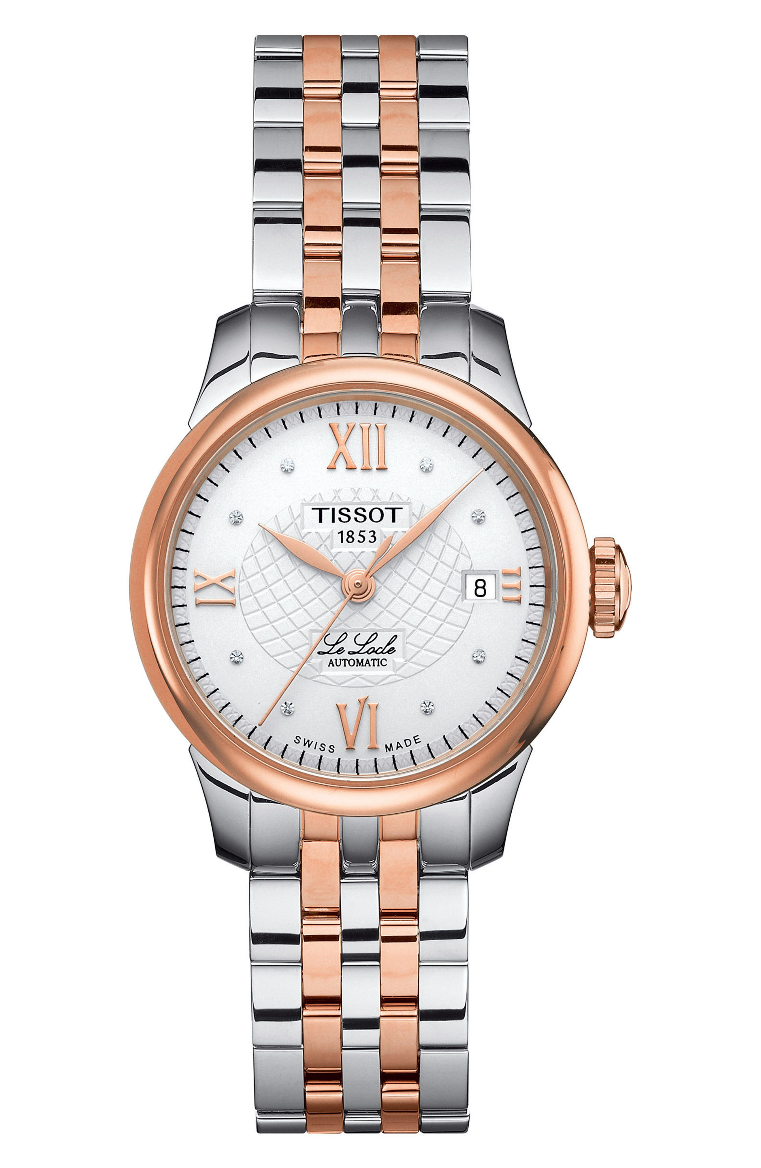 Le Locle Automatic Bracelet Watch, 25mm,                             Main thumbnail 1, color,                             Silver/ Rose Gold