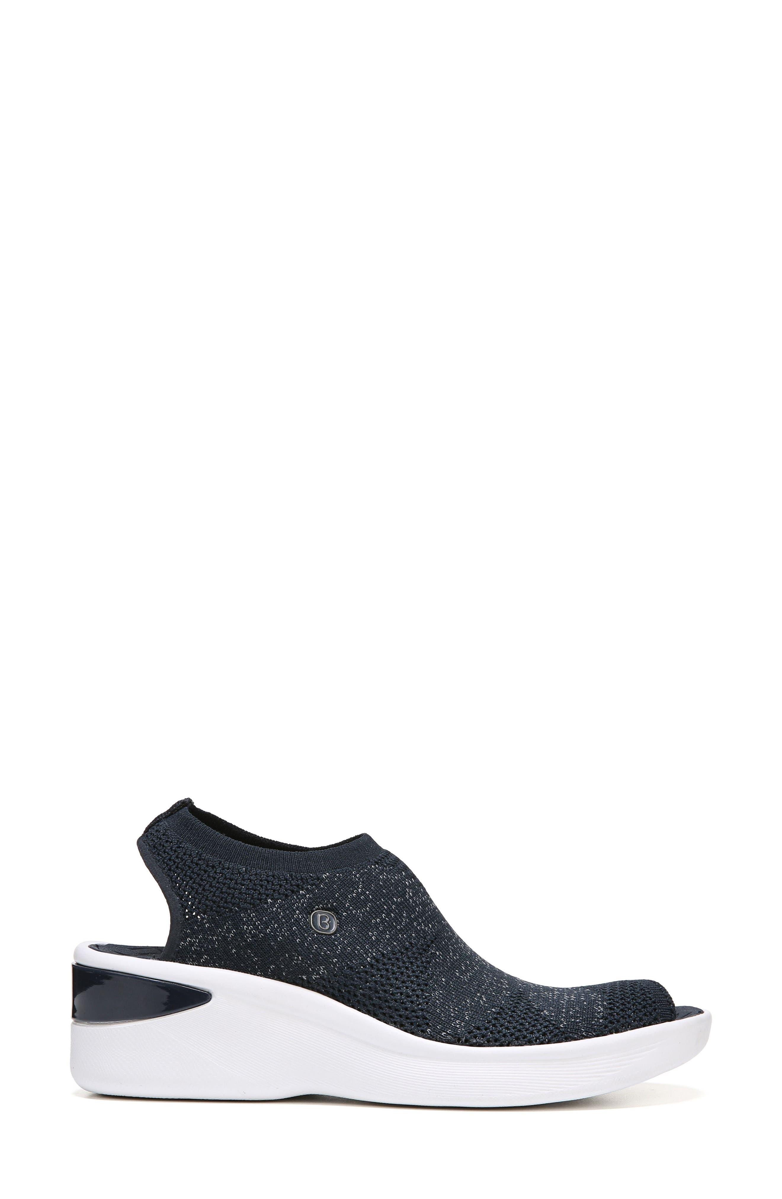 Secret Peep Toe Knit Sneaker,                             Alternate thumbnail 3, color,                             Blue Fabric