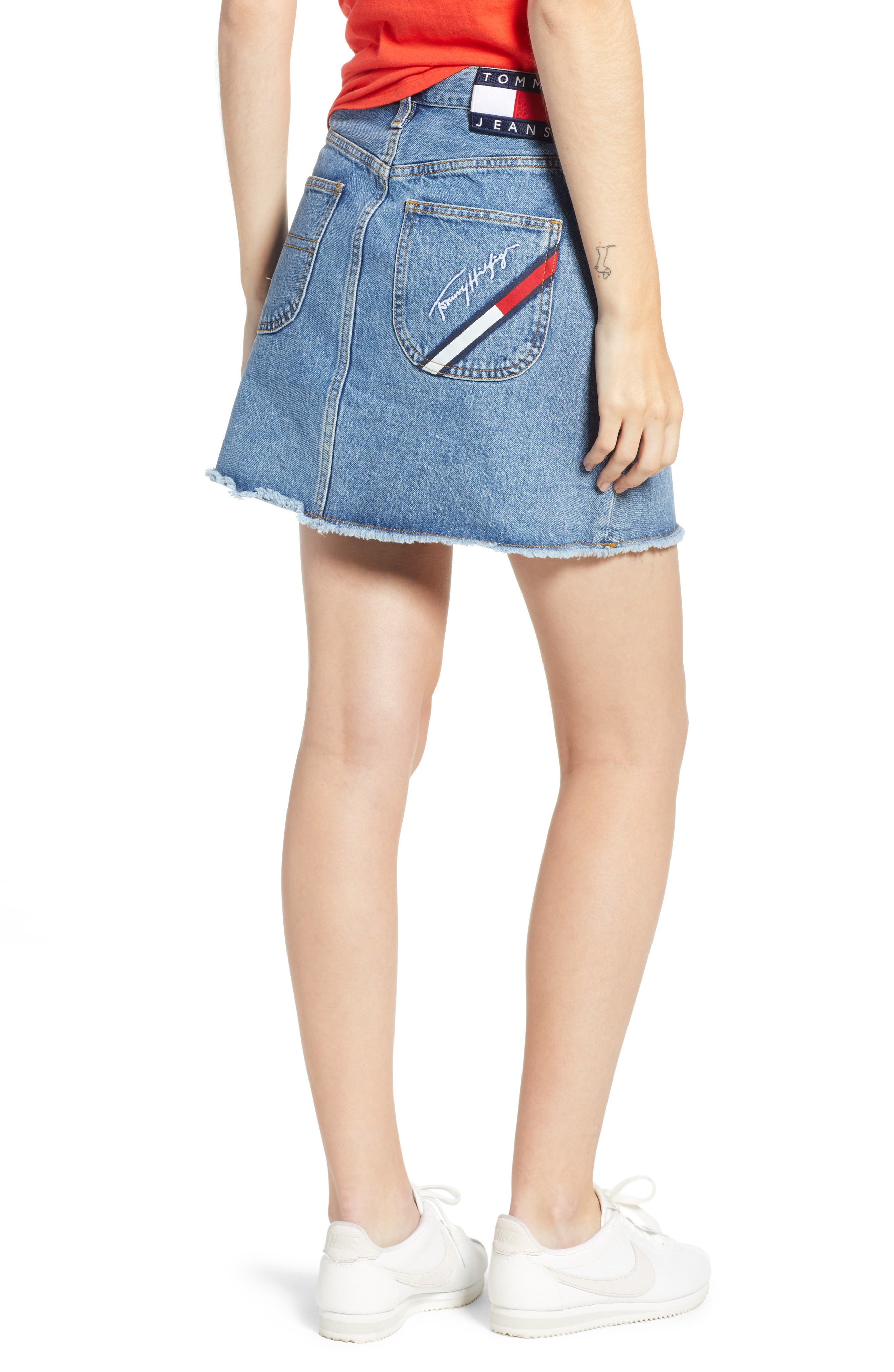 90s Denim Skirt,                             Alternate thumbnail 2, color,                             Mid Blue Denim