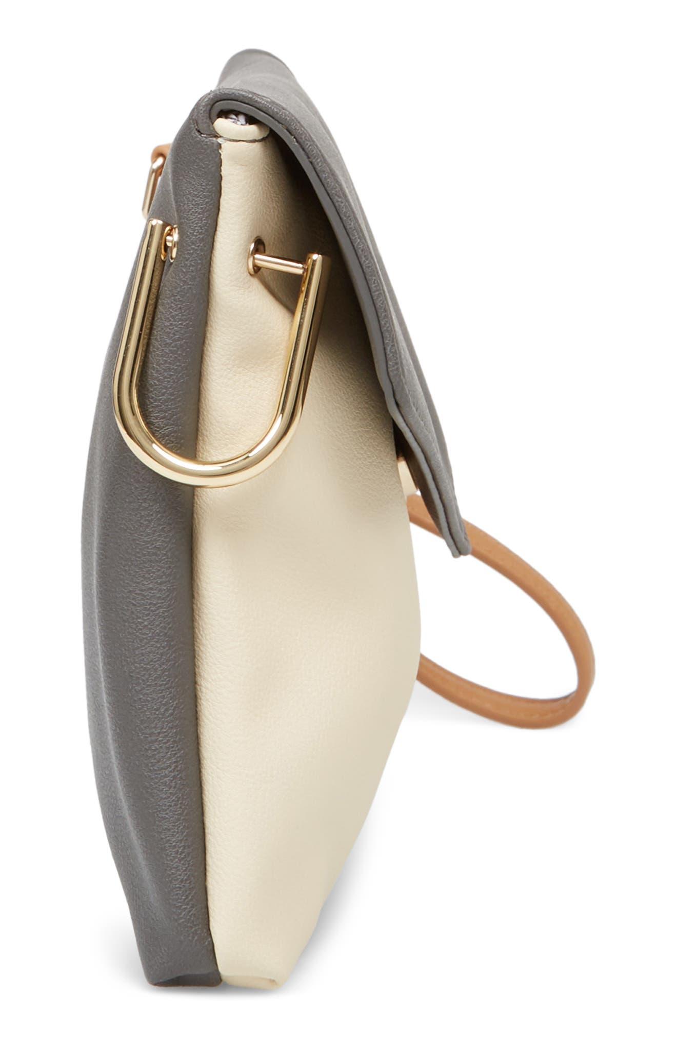 Shea Tricolor Faux Leather Clutch,                             Alternate thumbnail 5, color,                             Grey Multi