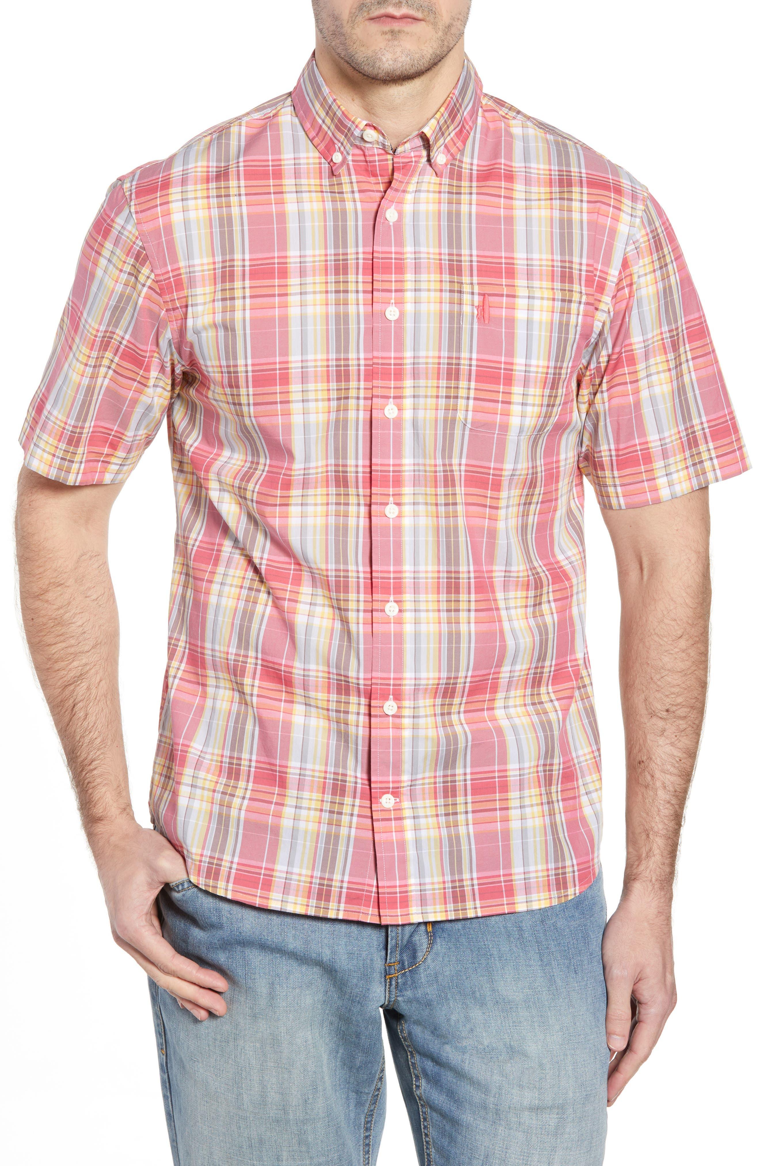 Glenn Classic Fit Plaid Sport Shirt,                             Main thumbnail 1, color,                             Calypso
