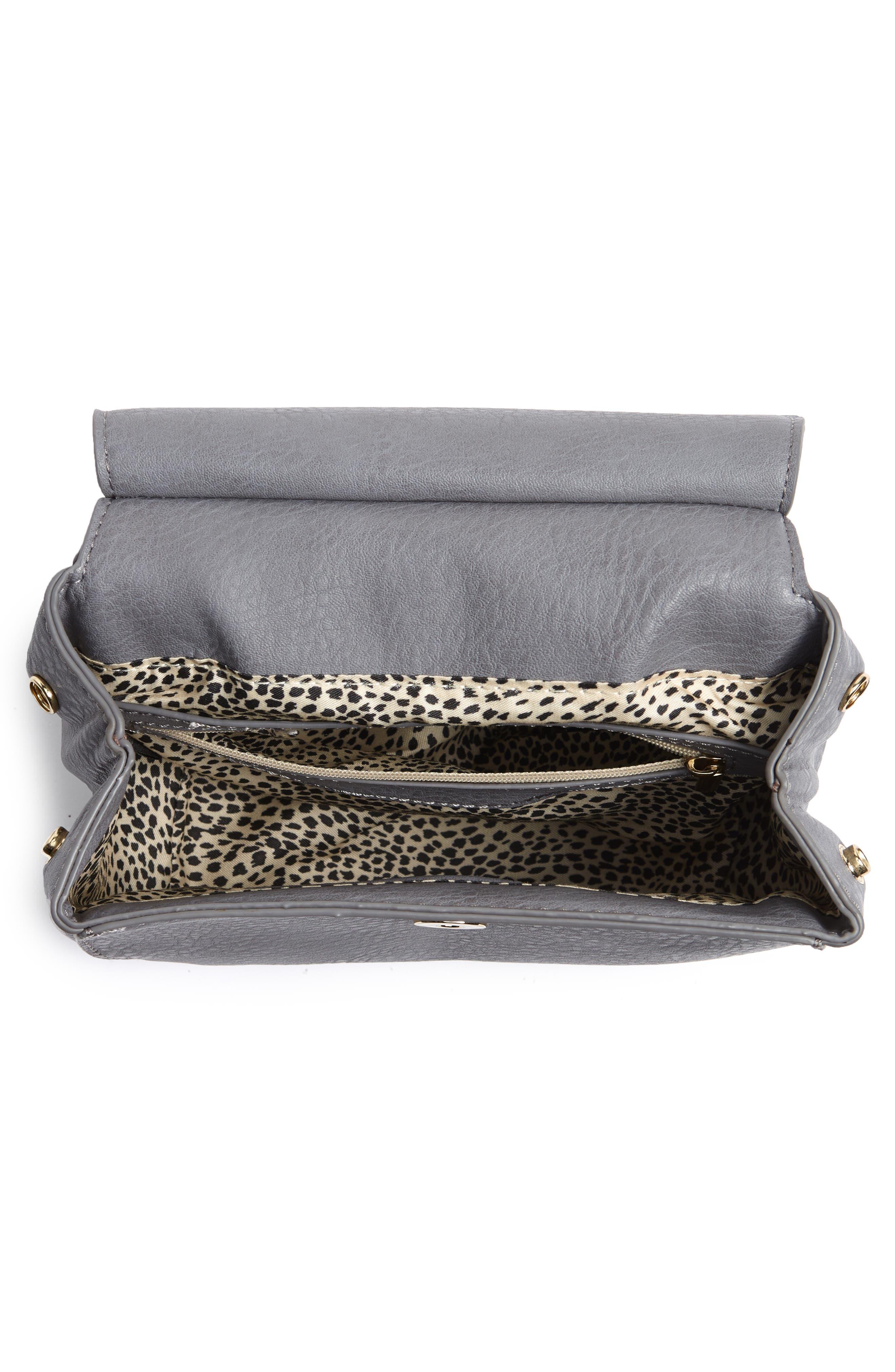 Tassel Faux Leather Crossbody Saddle Bag,                             Alternate thumbnail 4, color,                             Grey