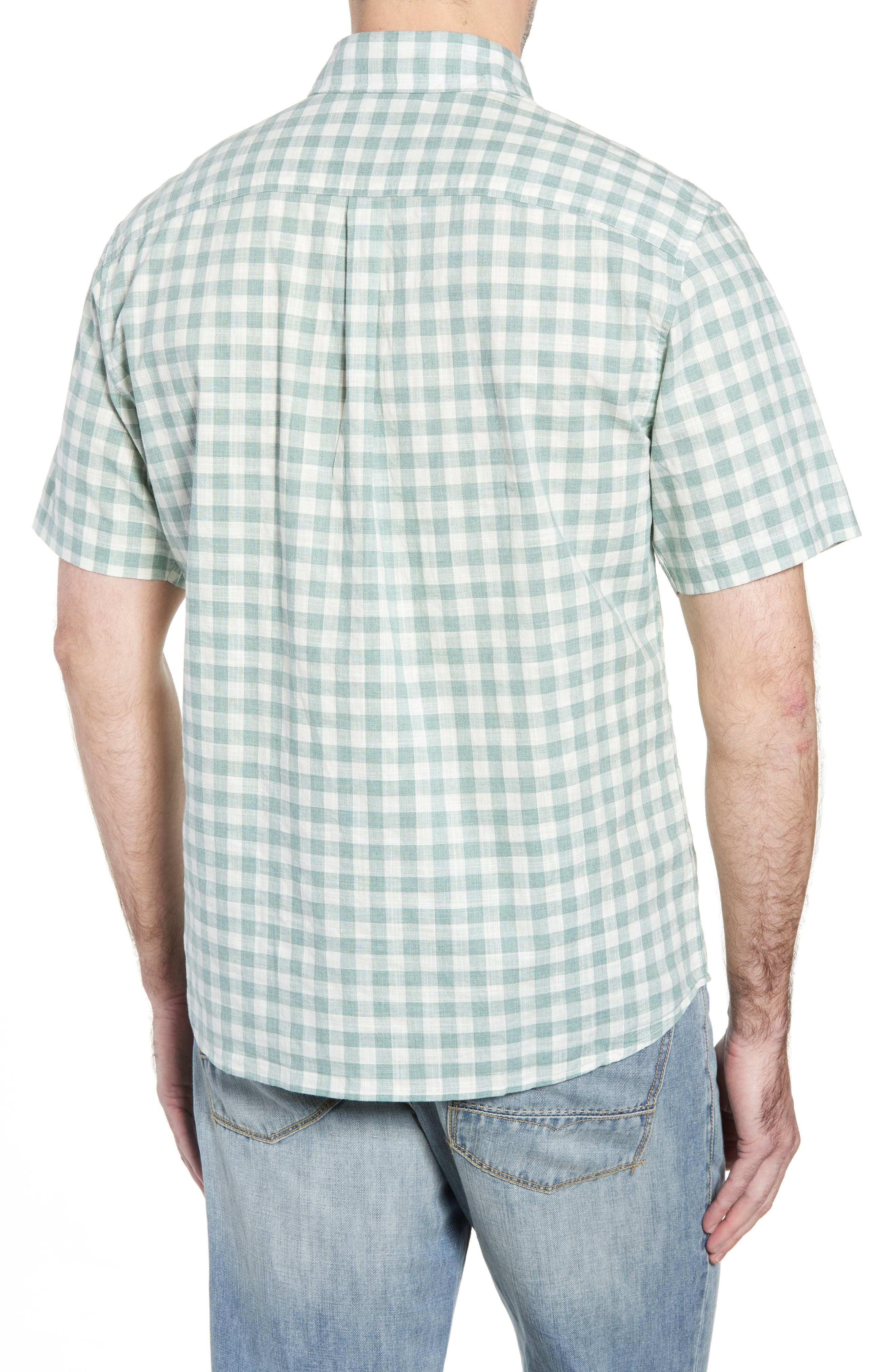 Watts Classic Fit Gingham Sport Shirt,                             Alternate thumbnail 4, color,                             Clover