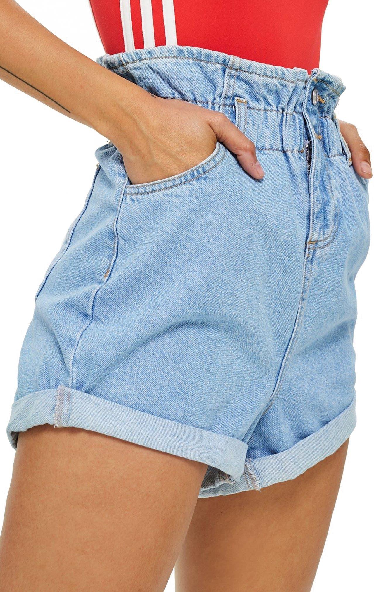 MOTO Paperbag Waist Denim Shorts,                             Main thumbnail 1, color,                             Mid Stone