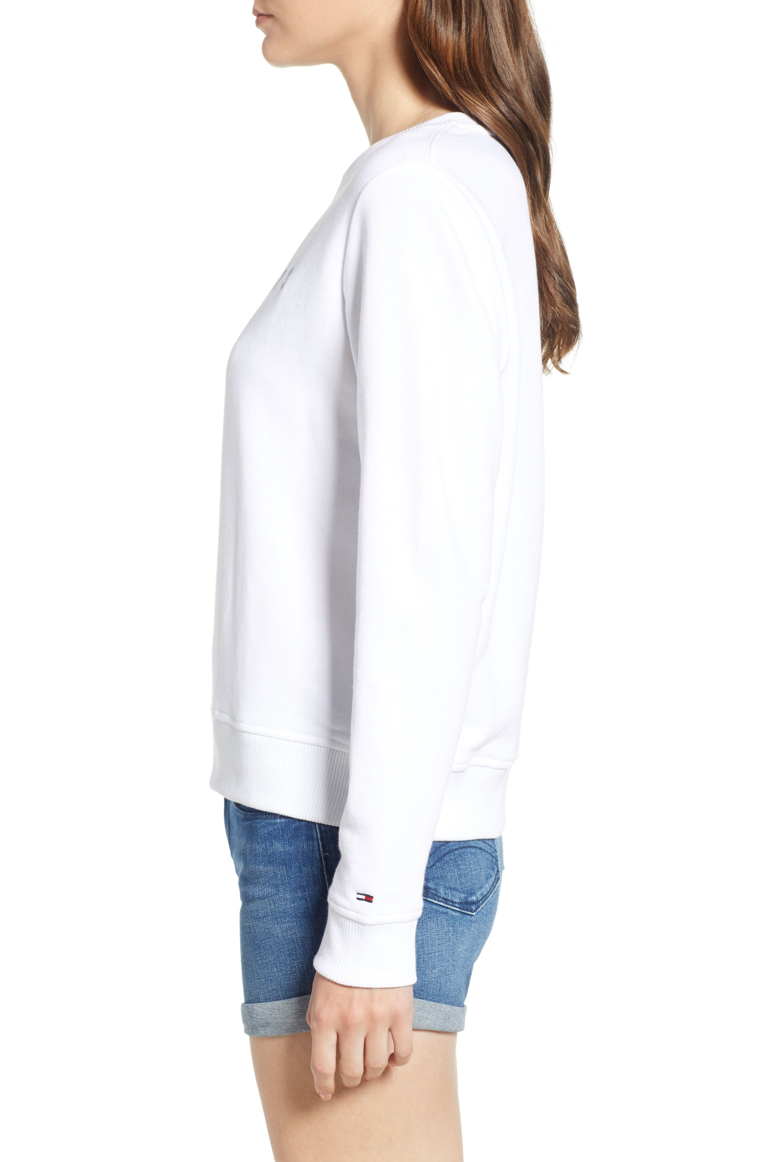 Summer Logo Sweatshirt,                             Alternate thumbnail 3, color,                             Bright White