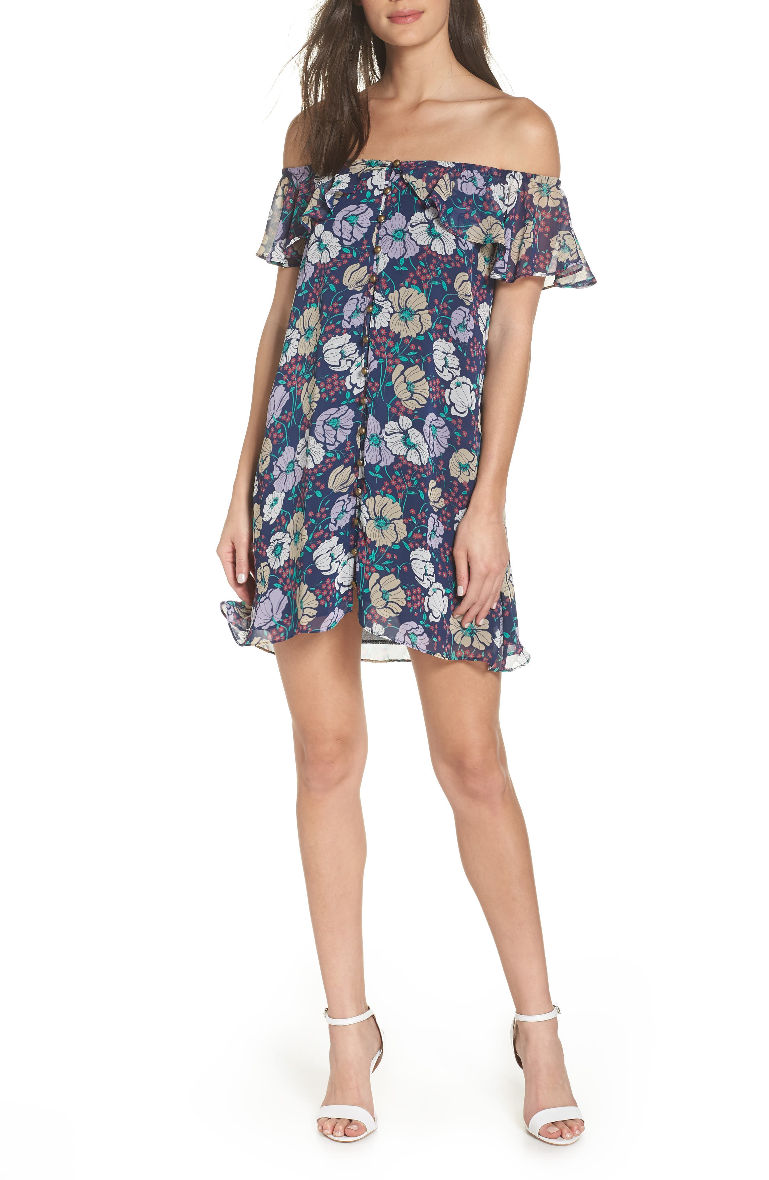 Off the Shoulder Button Front Shift Dress,                             Main thumbnail 1, color,                             Willow Navy