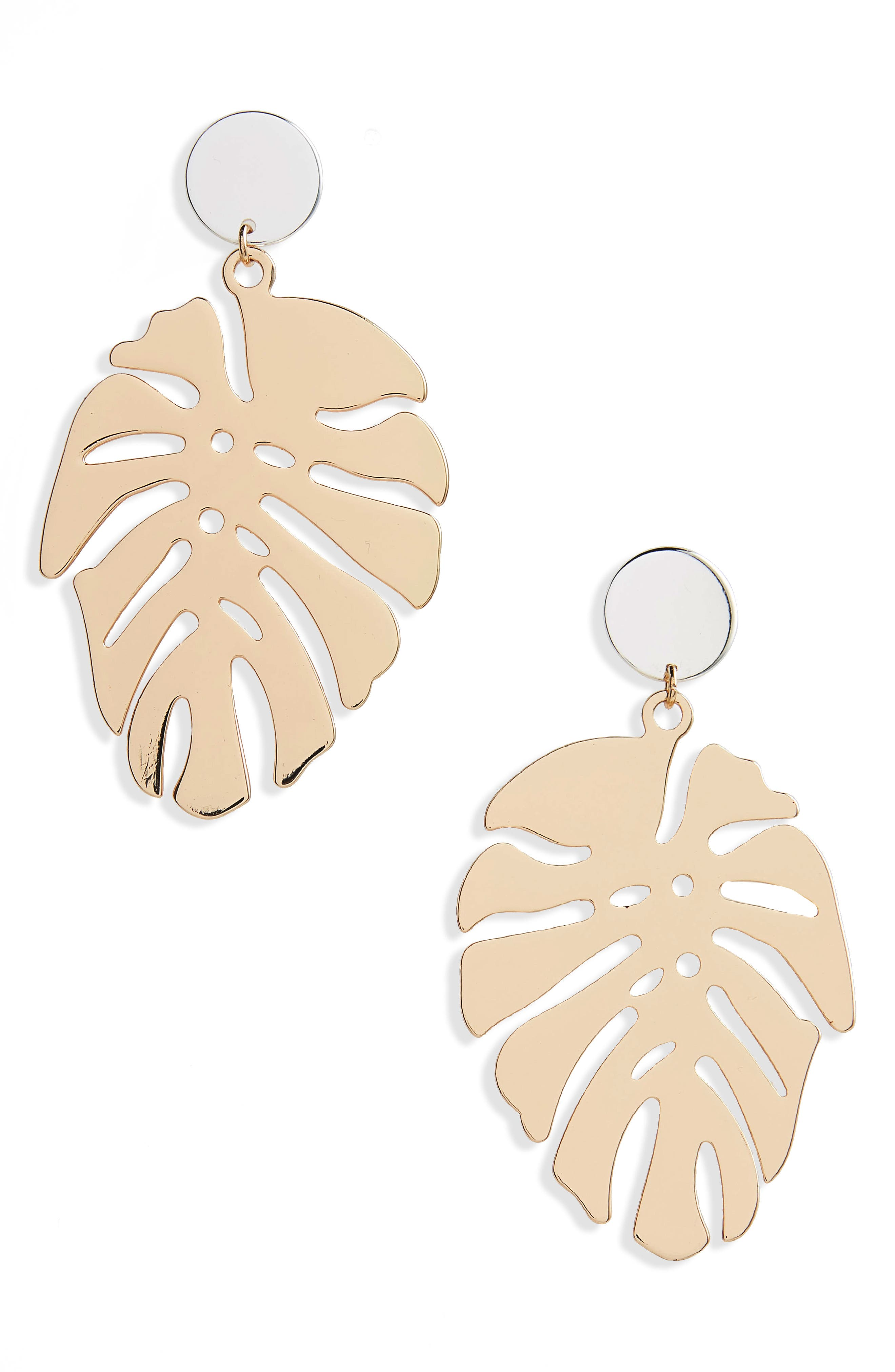 Palm Leaf Drop Earrings,                         Main,                         color, Gold/ Silver