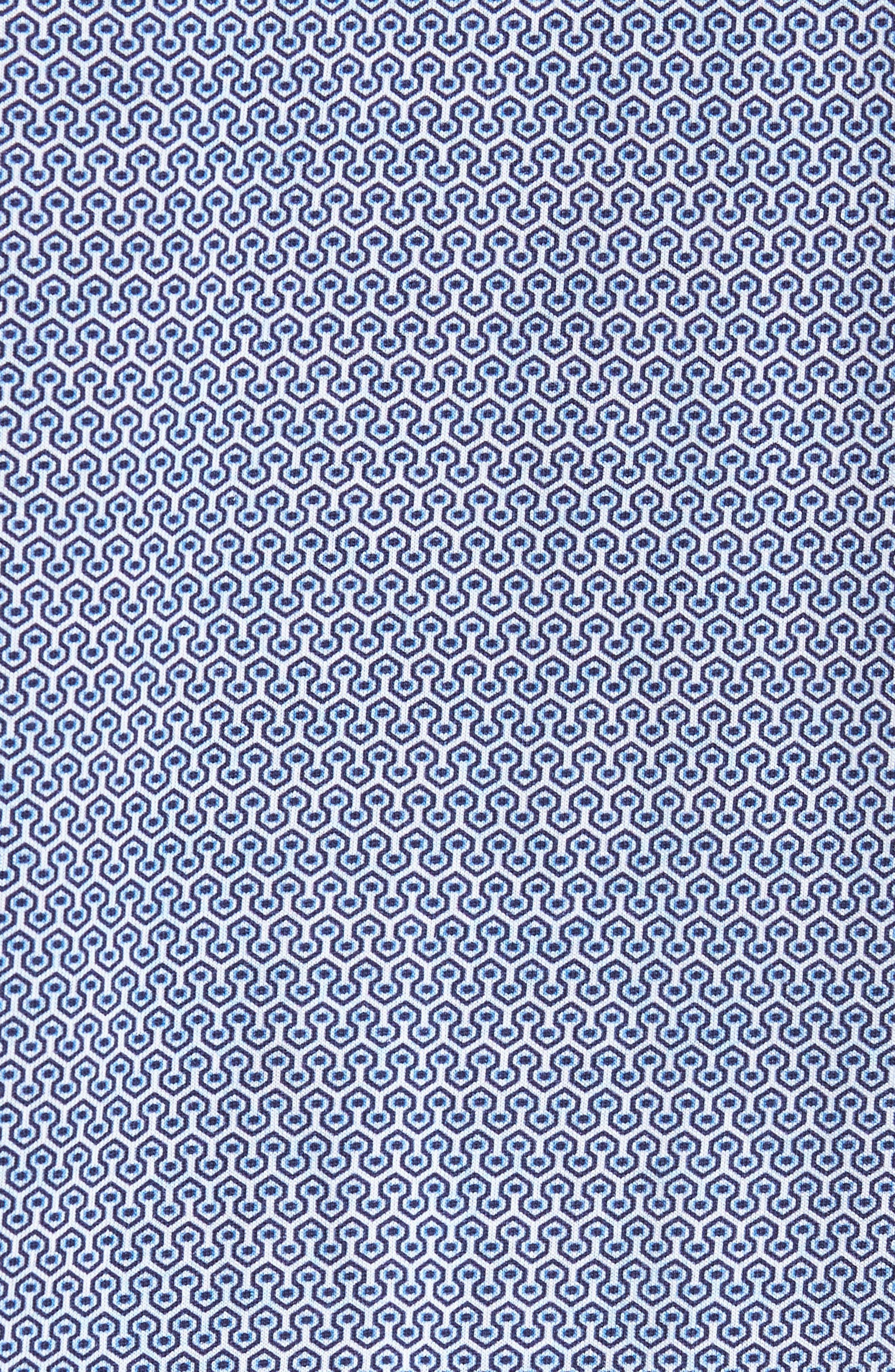 Honeycomb Print Knit Sport Shirt,                             Alternate thumbnail 5, color,                             Blue