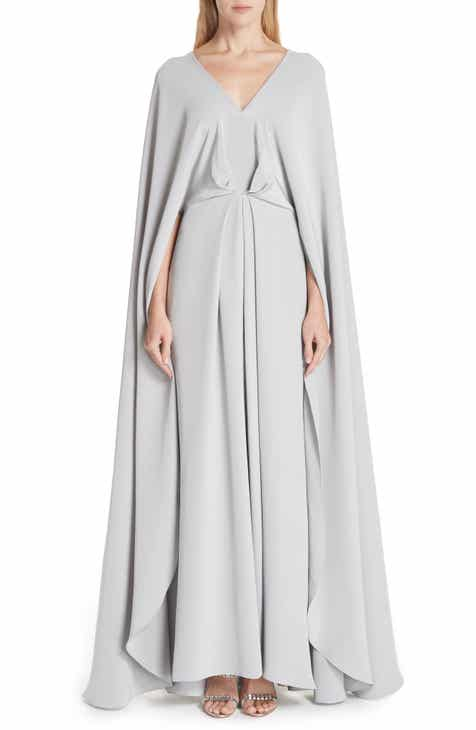 Christian Siriano V-Neck Cape Silk Gown by CHRISTIAN SIRIANO