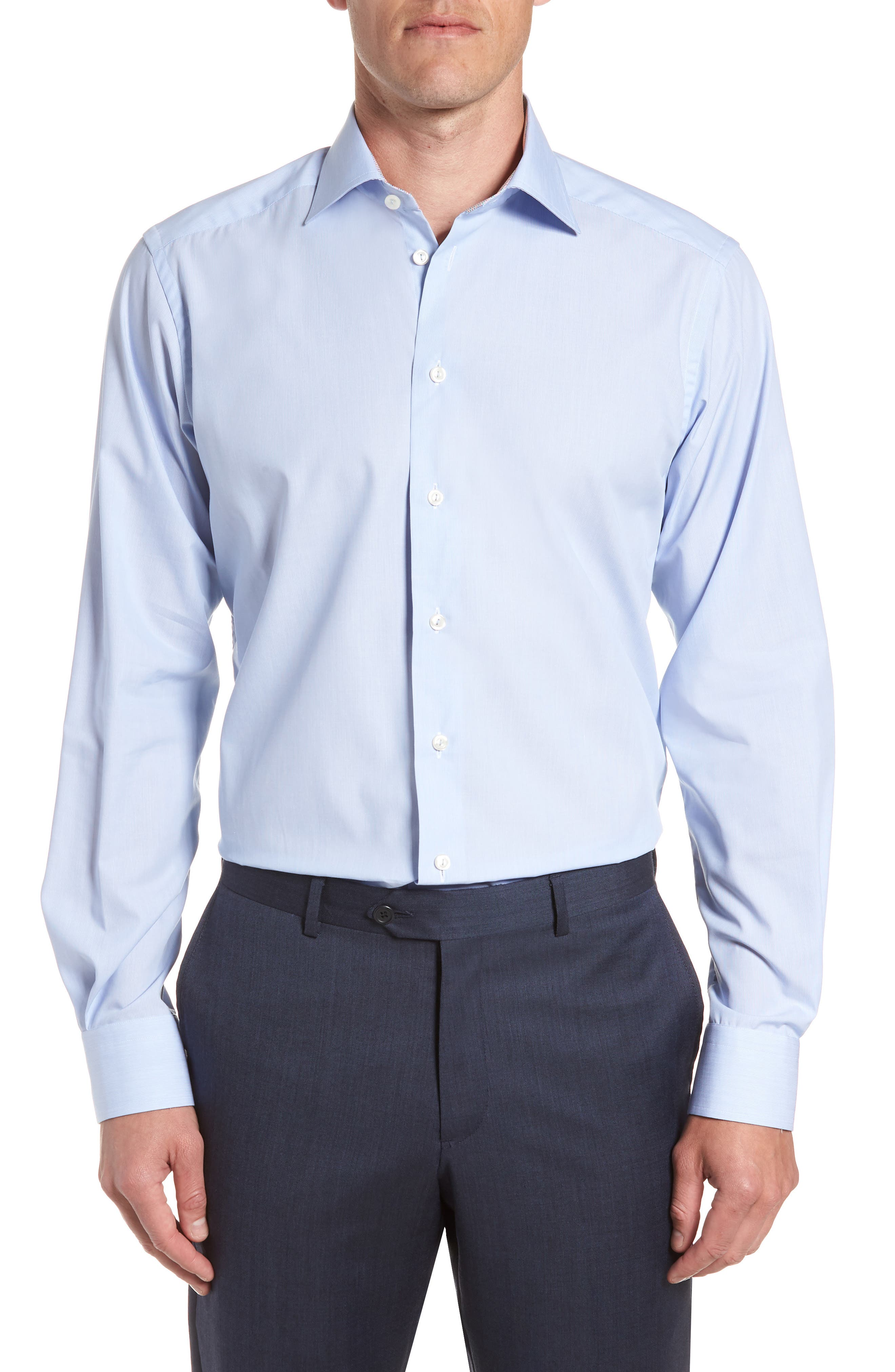 Contemporary Fit Solid Dress Shirt,                         Main,                         color, Blue