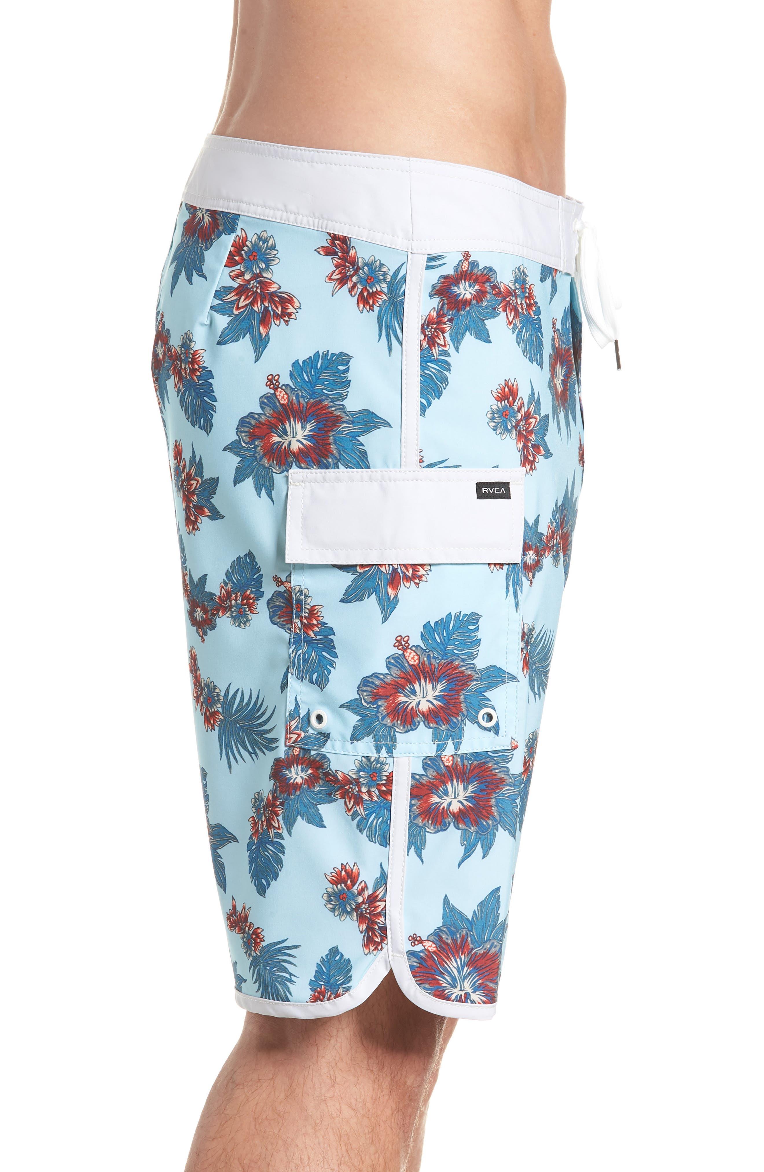 Jeff McMillan Floral Swim Trunks,                             Alternate thumbnail 4, color,                             Blue Floral
