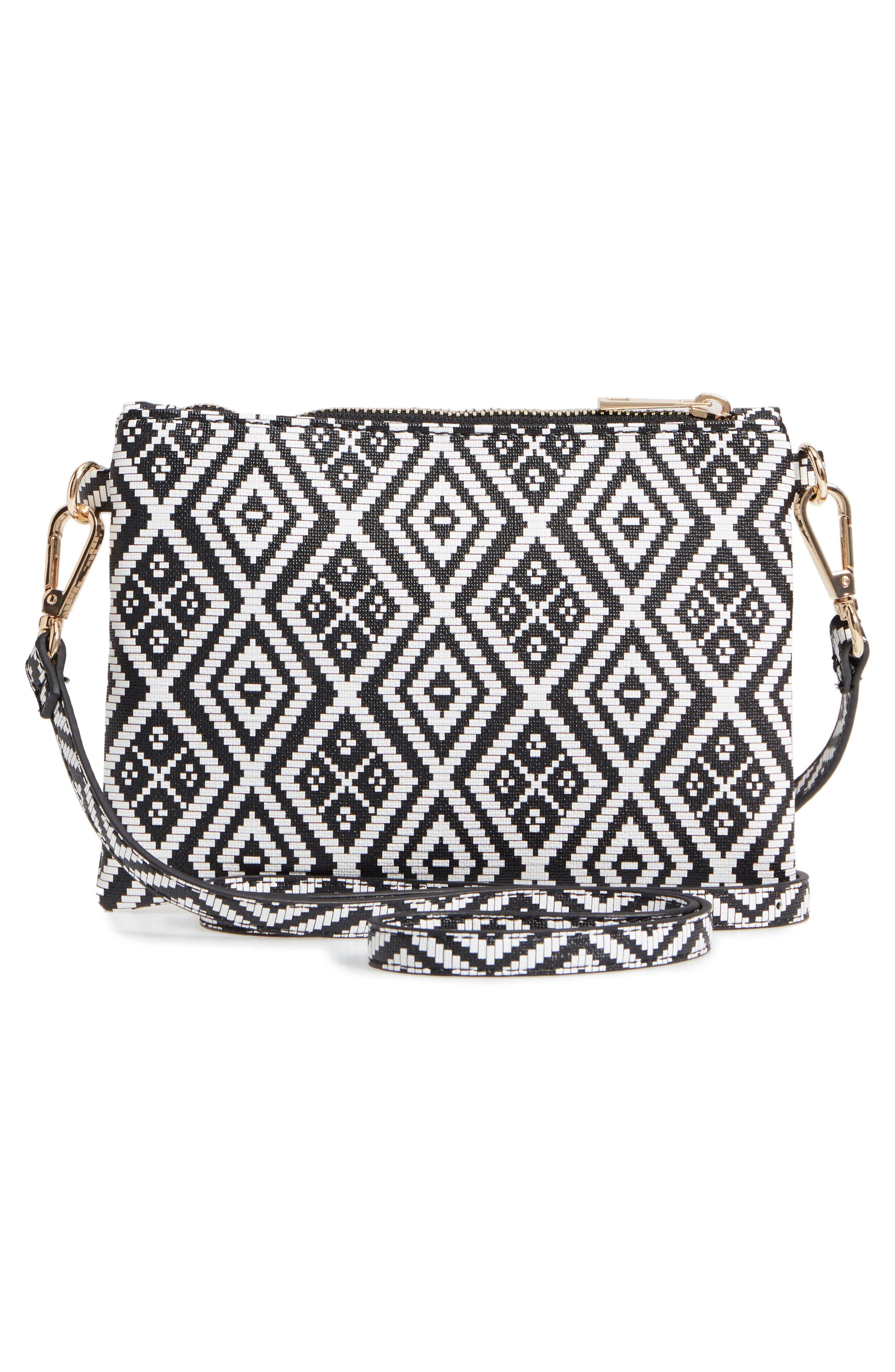 Weave Pattern Convertible Crossbody Wristlet,                             Alternate thumbnail 3, color,                             Black/ White