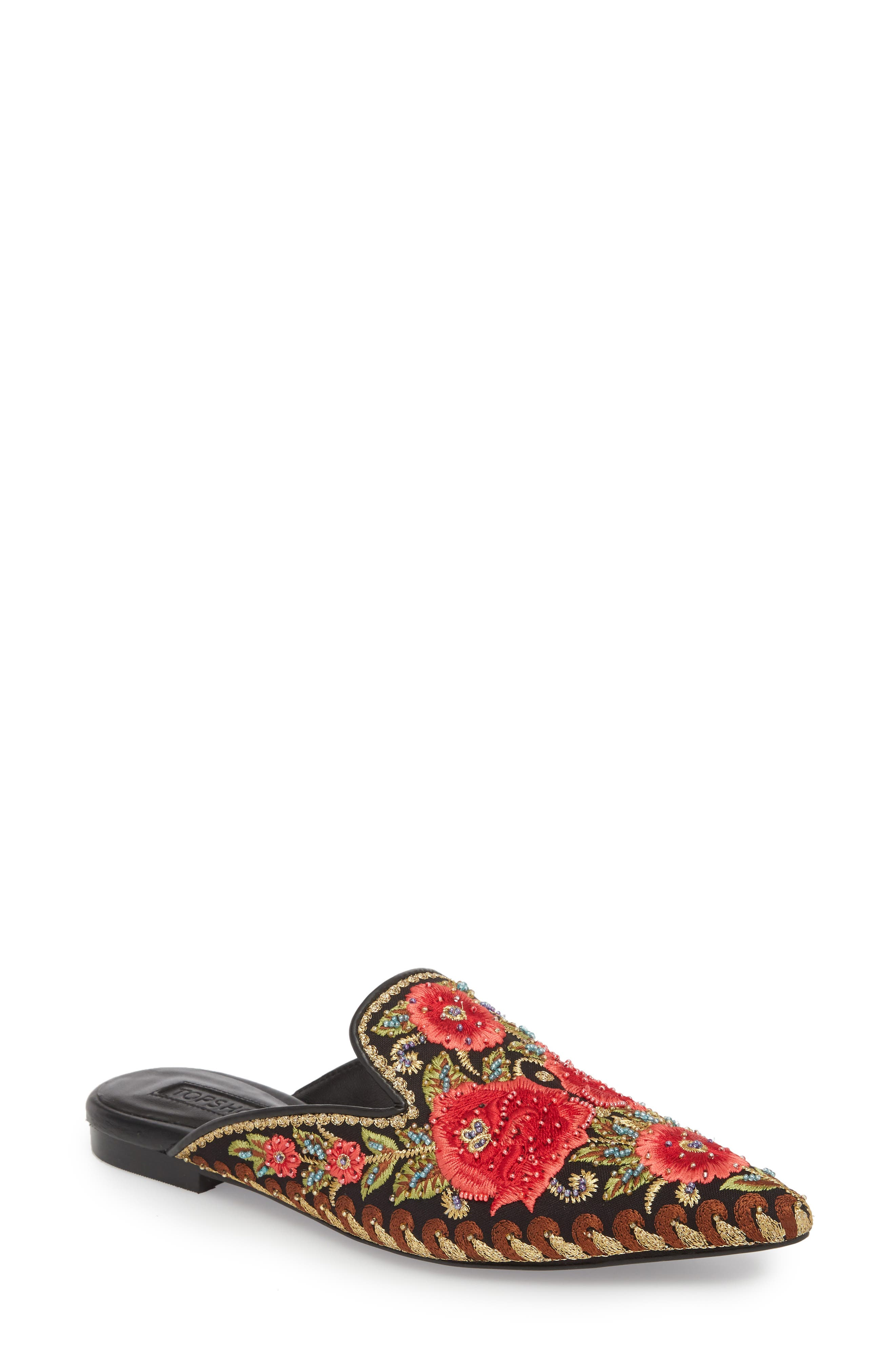 Katja Embroidered Mule,                         Main,                         color, Black Multi
