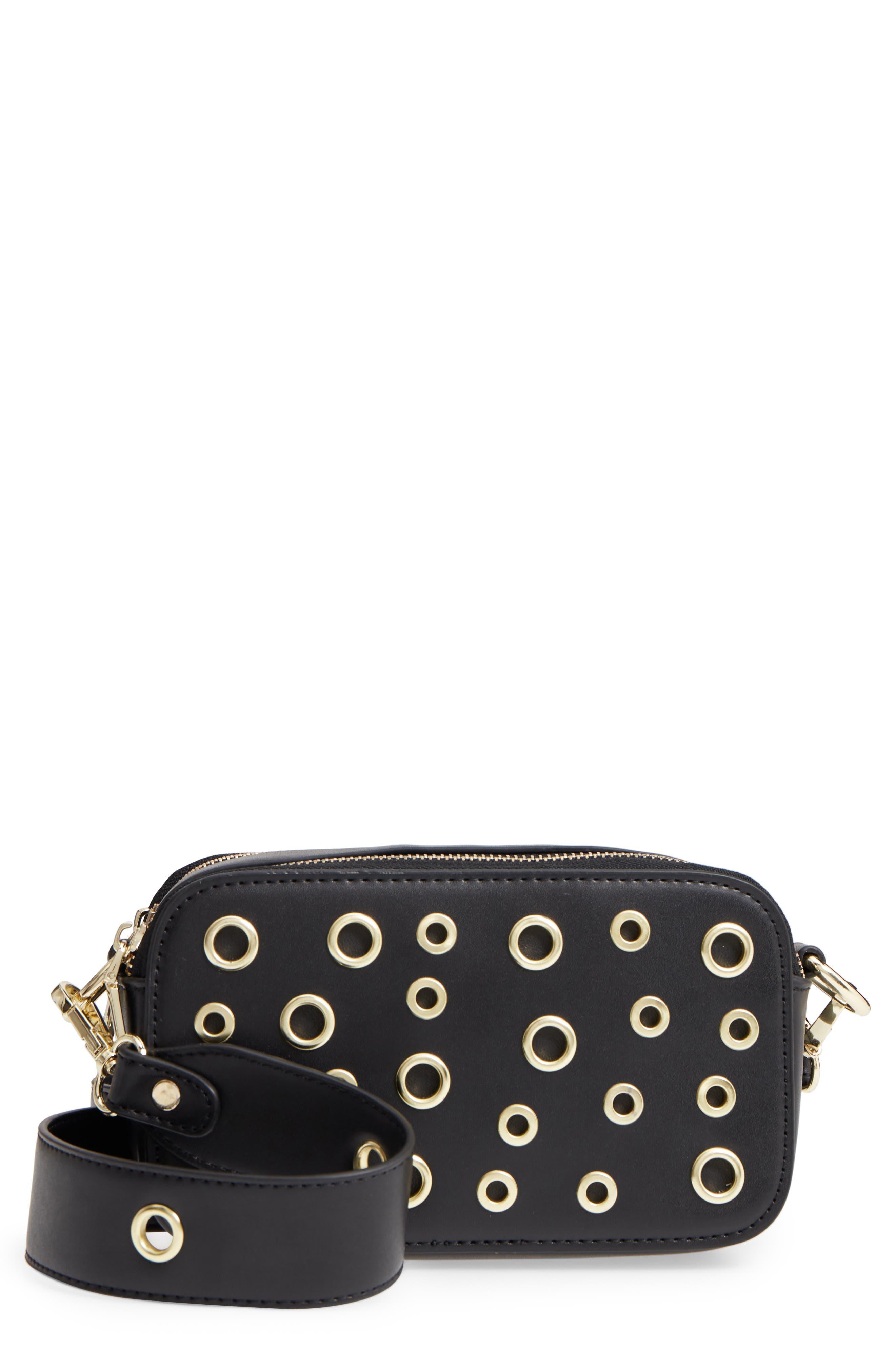 Dyana Grommet Faux Leather Crossbody Bag,                             Main thumbnail 1, color,                             Black