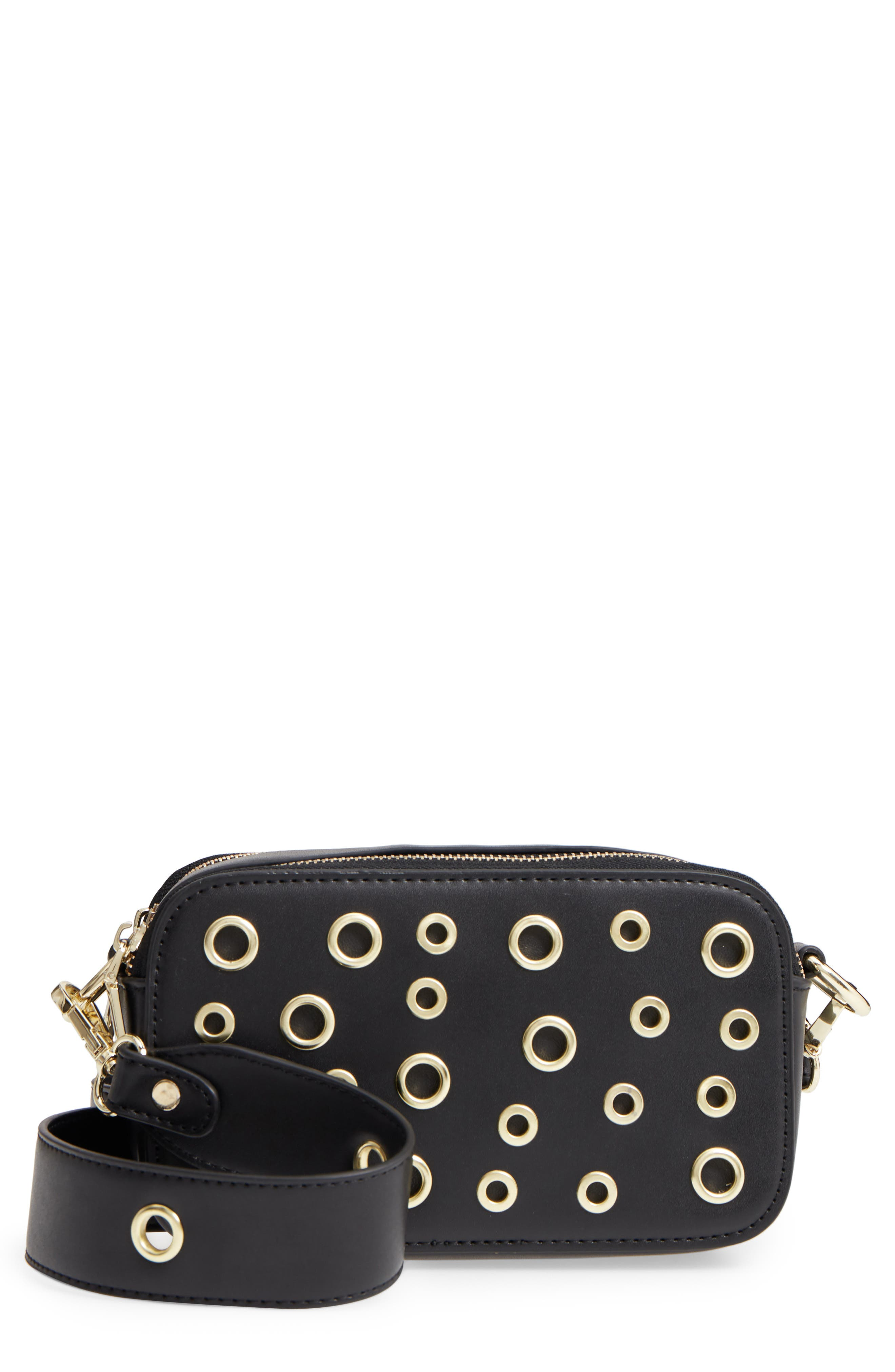 Dyana Grommet Faux Leather Crossbody Bag,                         Main,                         color, Black