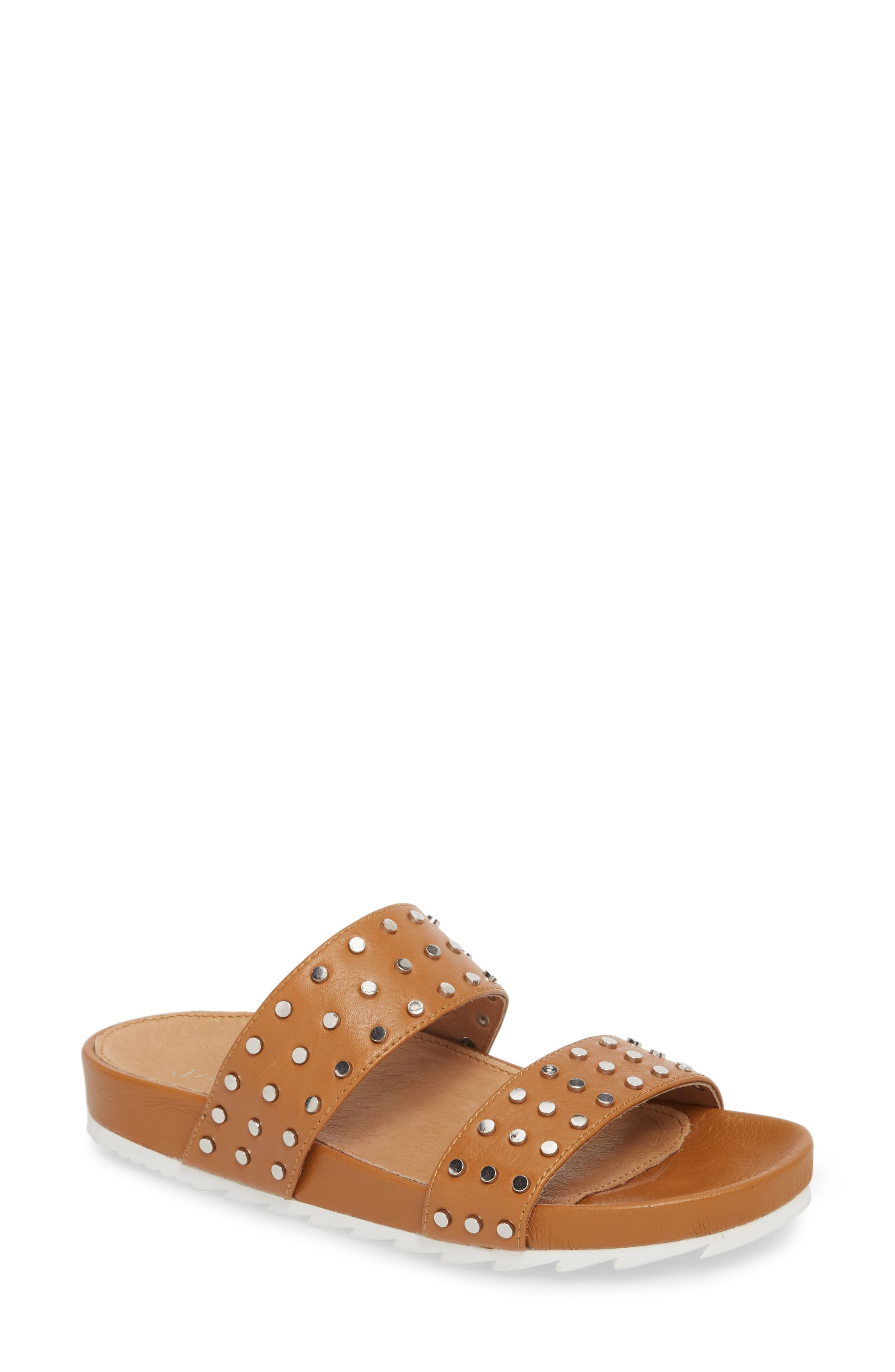 Erika Studded Slide Sandal,                             Main thumbnail 1, color,                             Tan Leather
