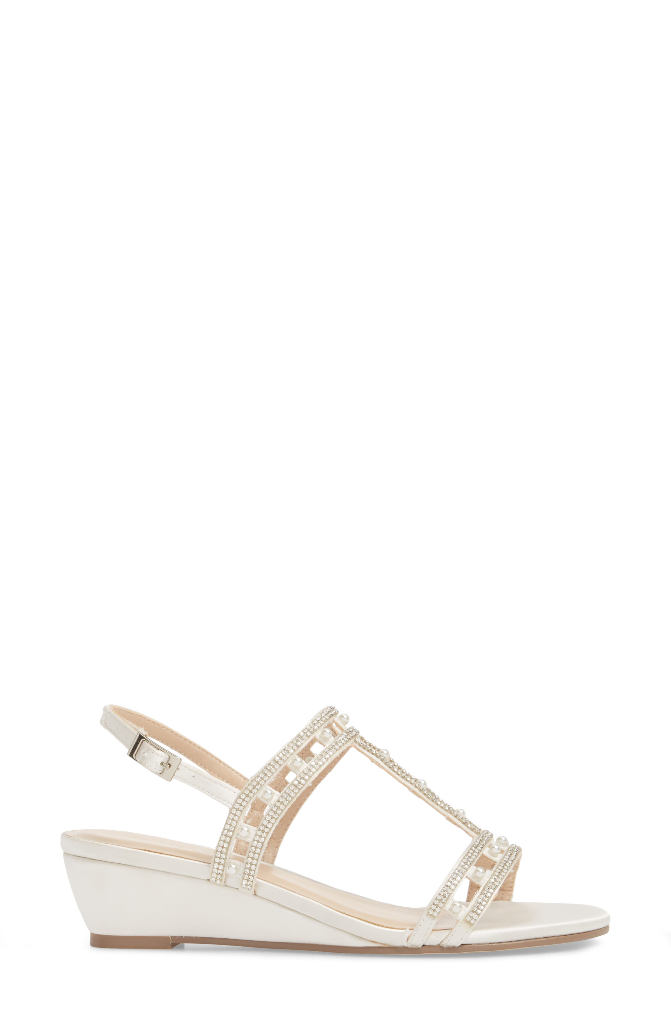 Kamara Embellished Wedge Sandal,                             Alternate thumbnail 3, color,                             Ivory Satin