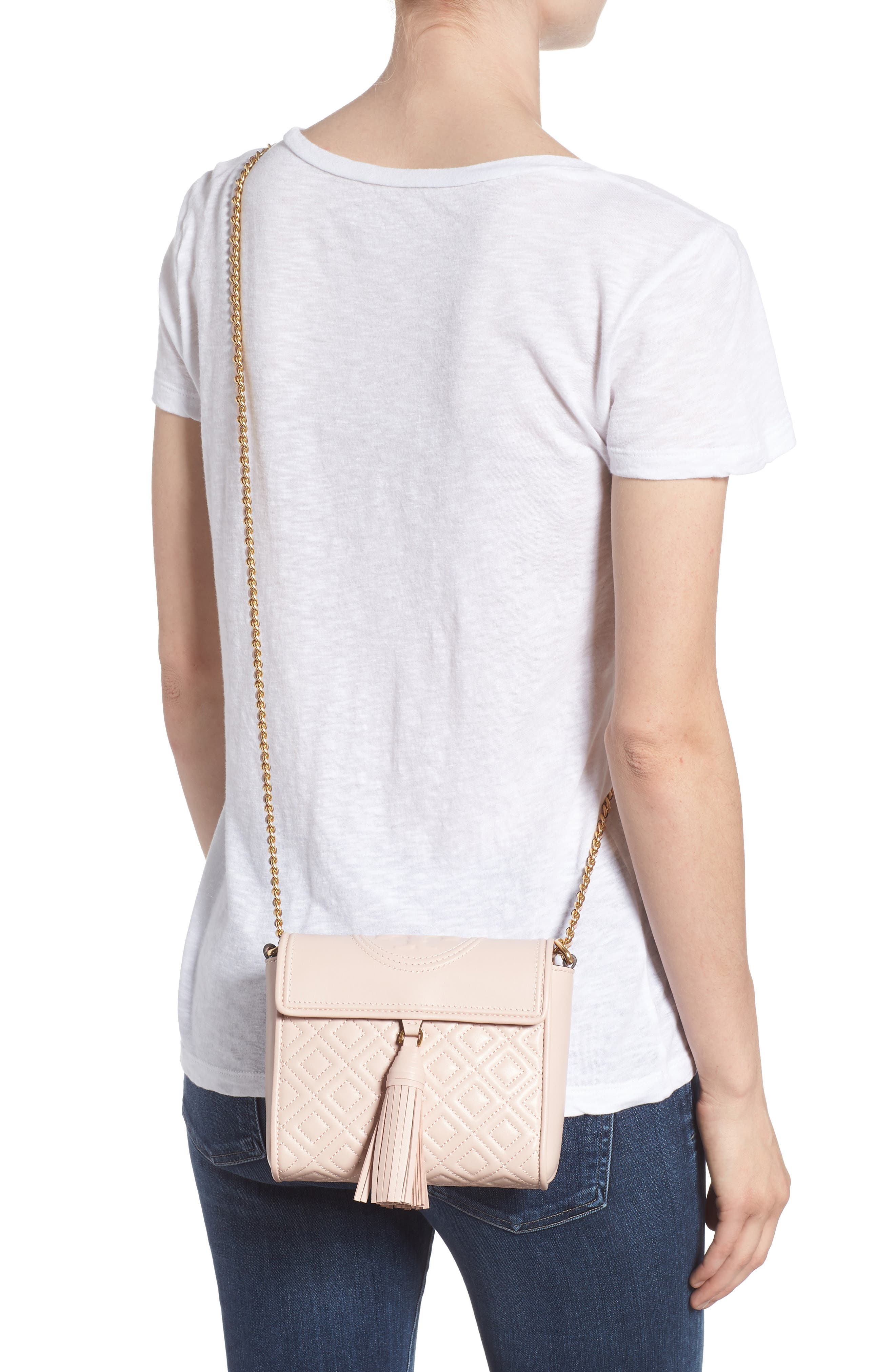 Fleming Quilted Leather Crossbody Bag,                             Alternate thumbnail 2, color,                             Shell Pink