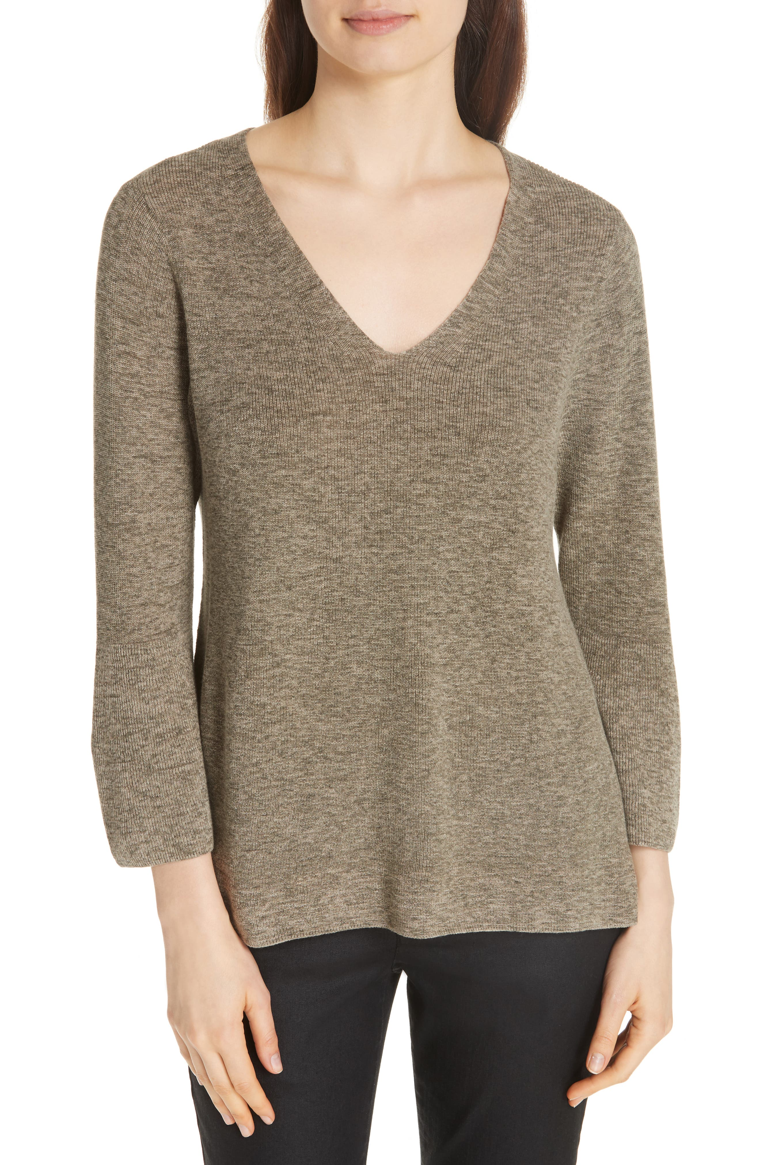 Bell Cuff Organic Cotton Sweater,                         Main,                         color, Olive