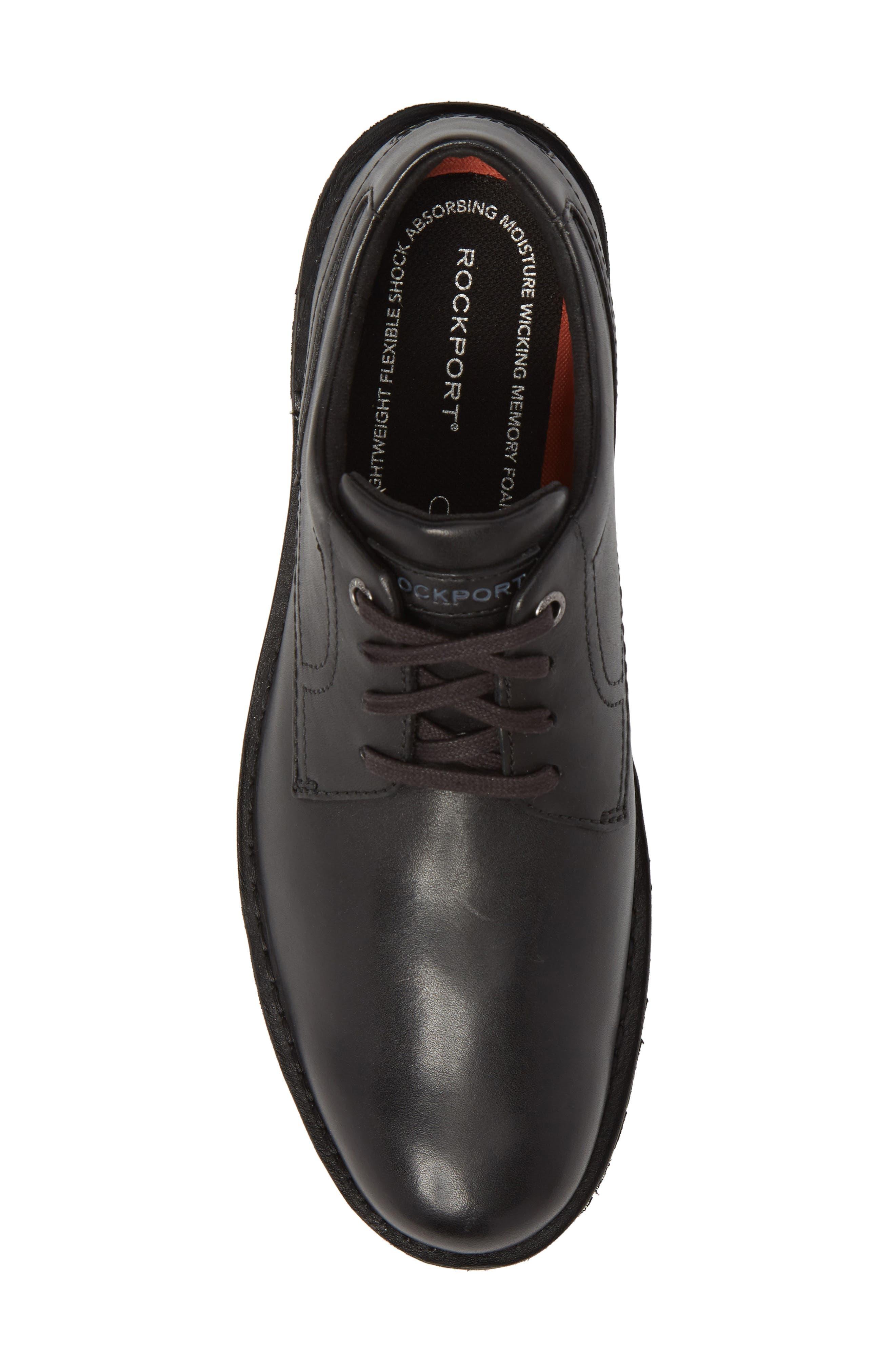Cabot Plain Toe Derby,                             Alternate thumbnail 5, color,                             Black Leather