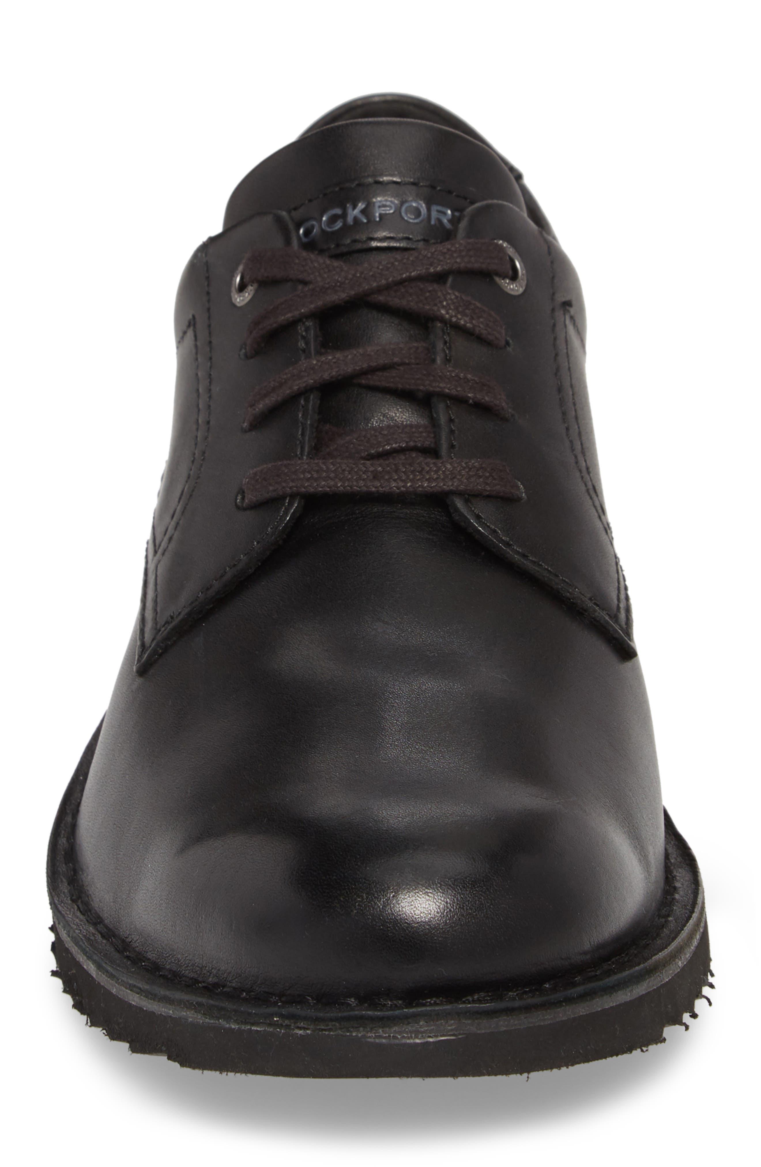 Cabot Plain Toe Derby,                             Alternate thumbnail 4, color,                             Black Leather