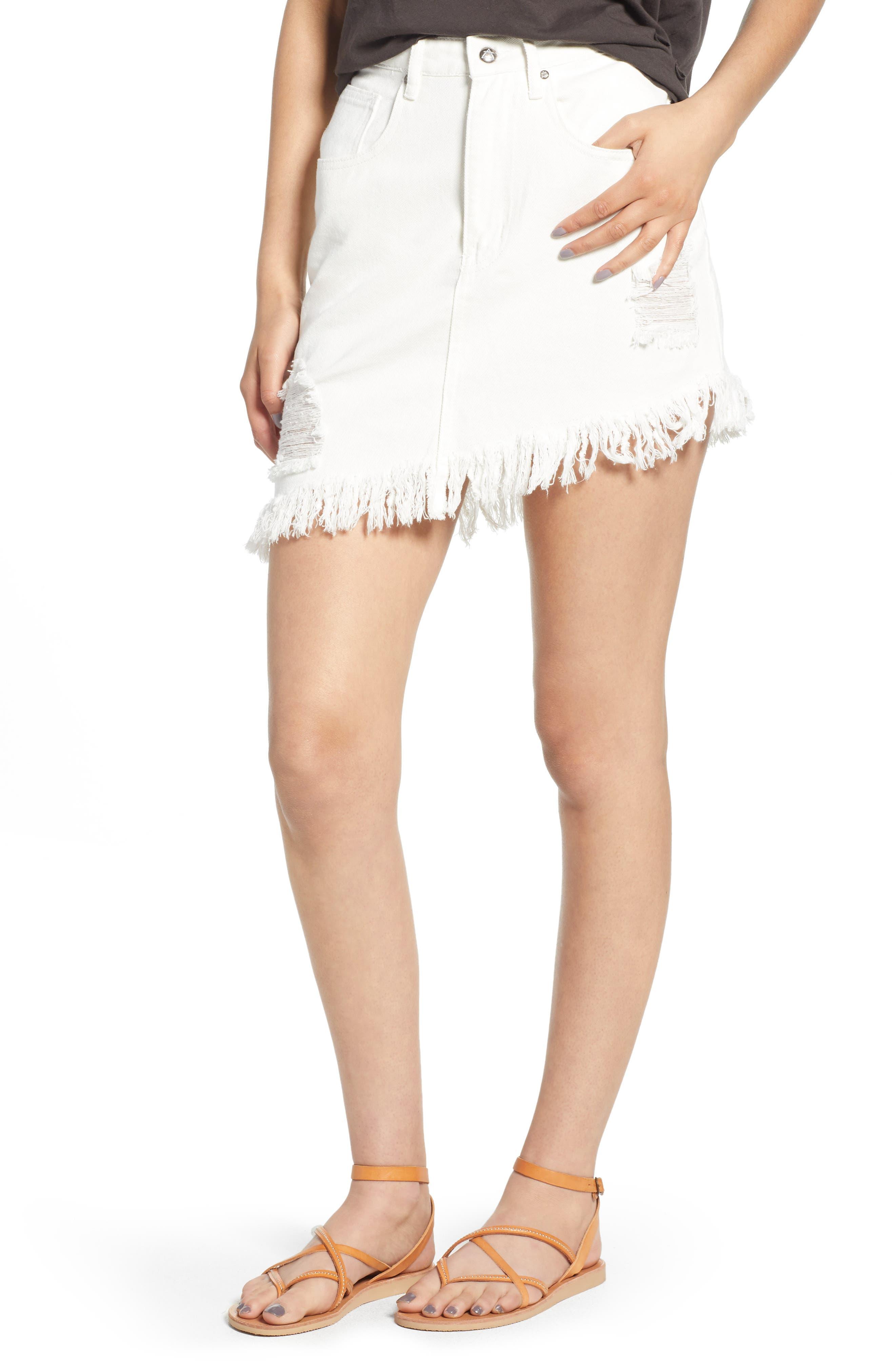 Shimmering Bays Ripped Denim Skirt,                             Main thumbnail 1, color,                             White