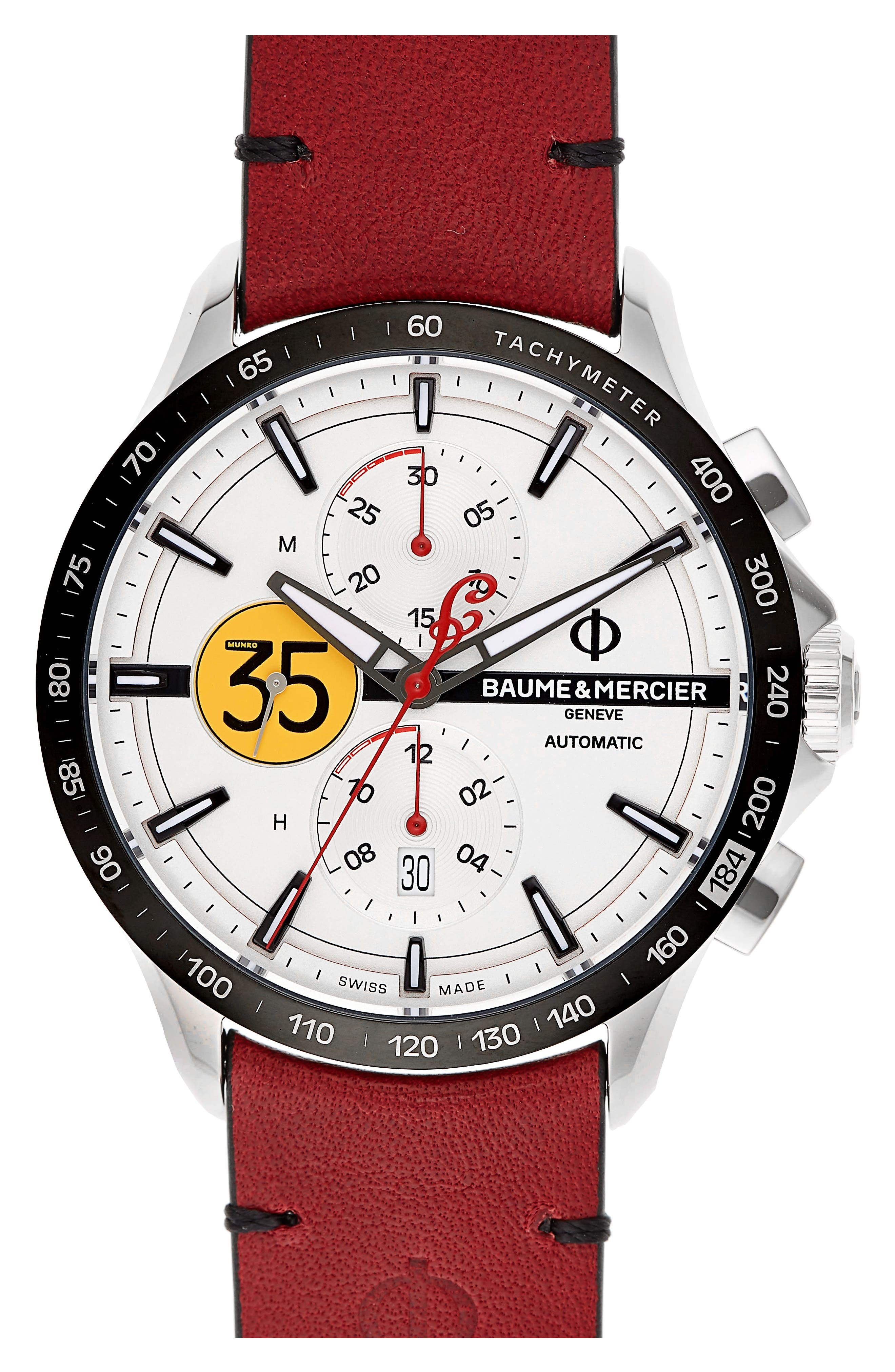 Baume & Mercier Clifton Limited Edition Automatic Leather Strap Watch, 44mm,                         Main,                         color, White/Red