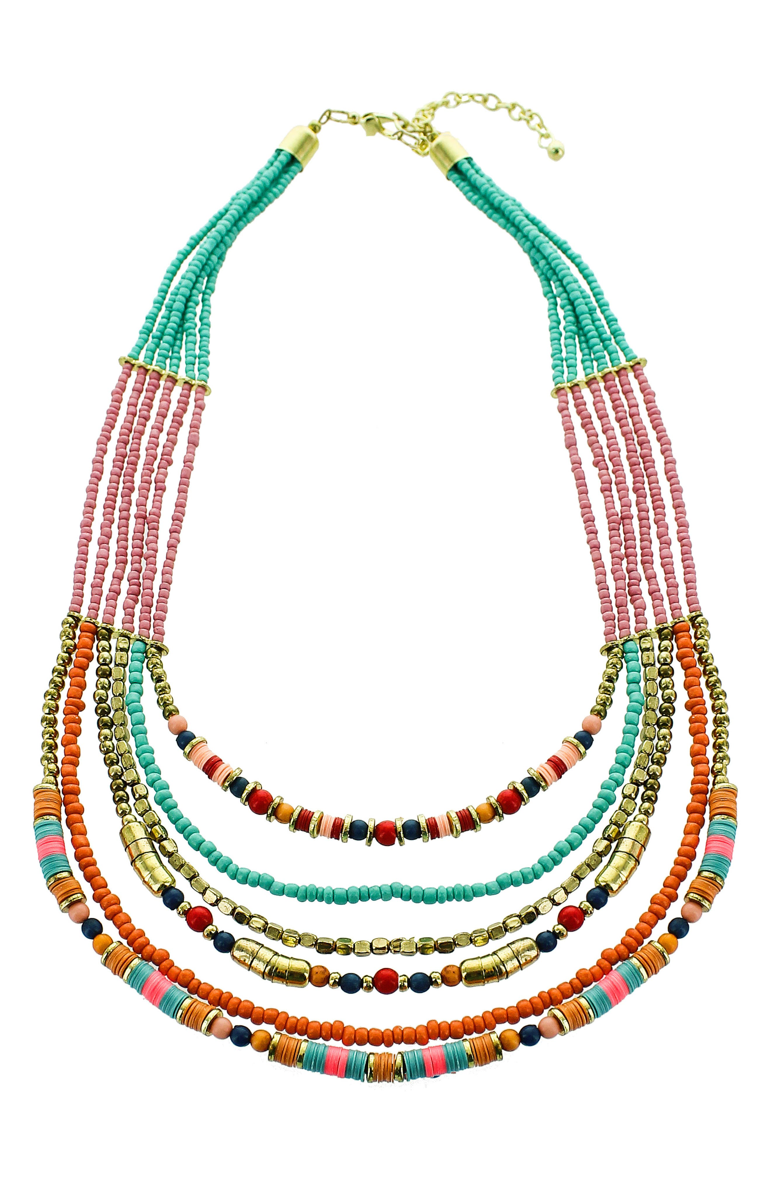 Multistrand Seed Bead Necklace,                             Main thumbnail 1, color,                             Turquoise/ Multi