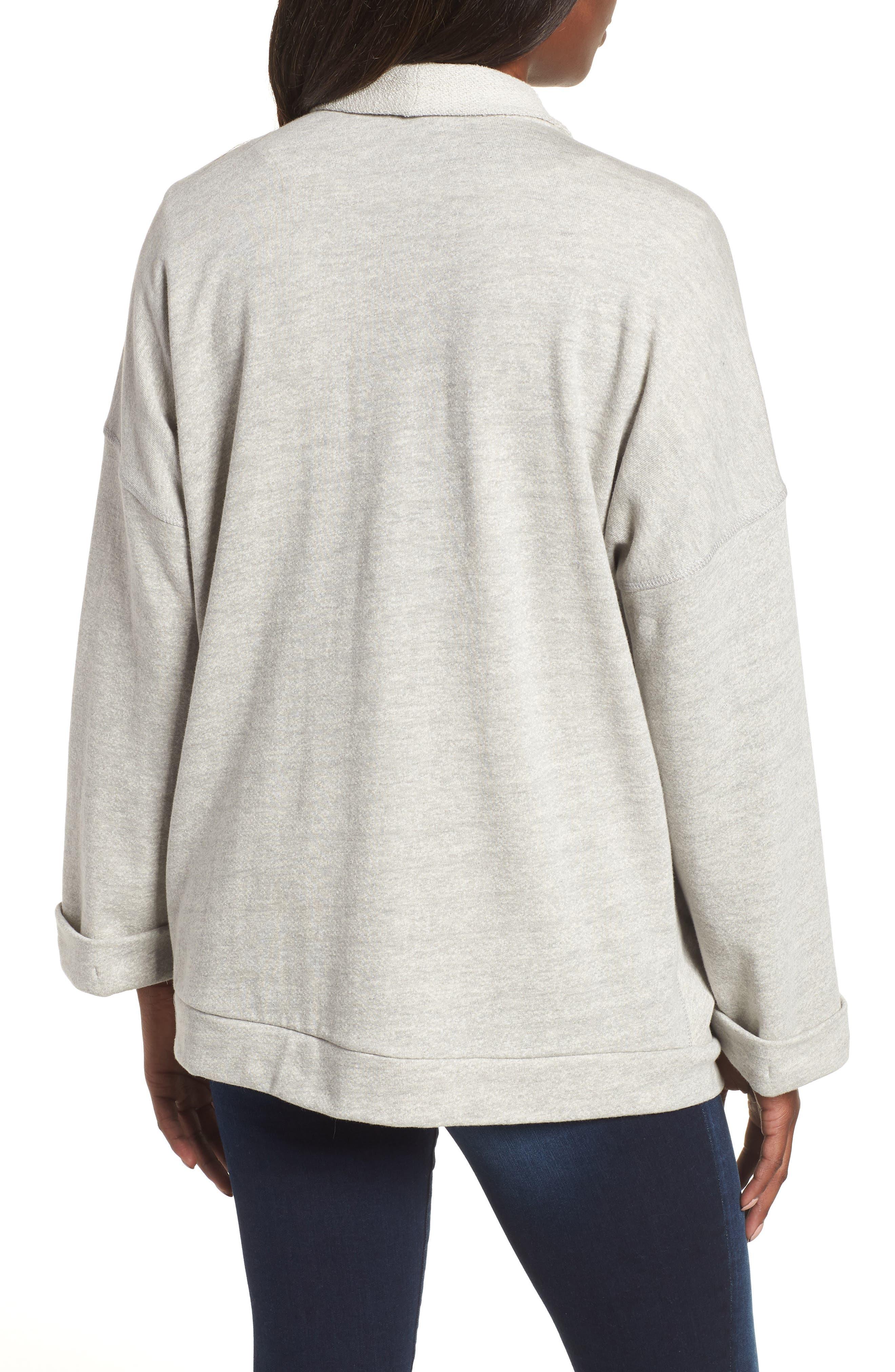 Off-Duty Roll Sleeve Cotton Blend Jacket,                             Alternate thumbnail 2, color,                             Grey Heather