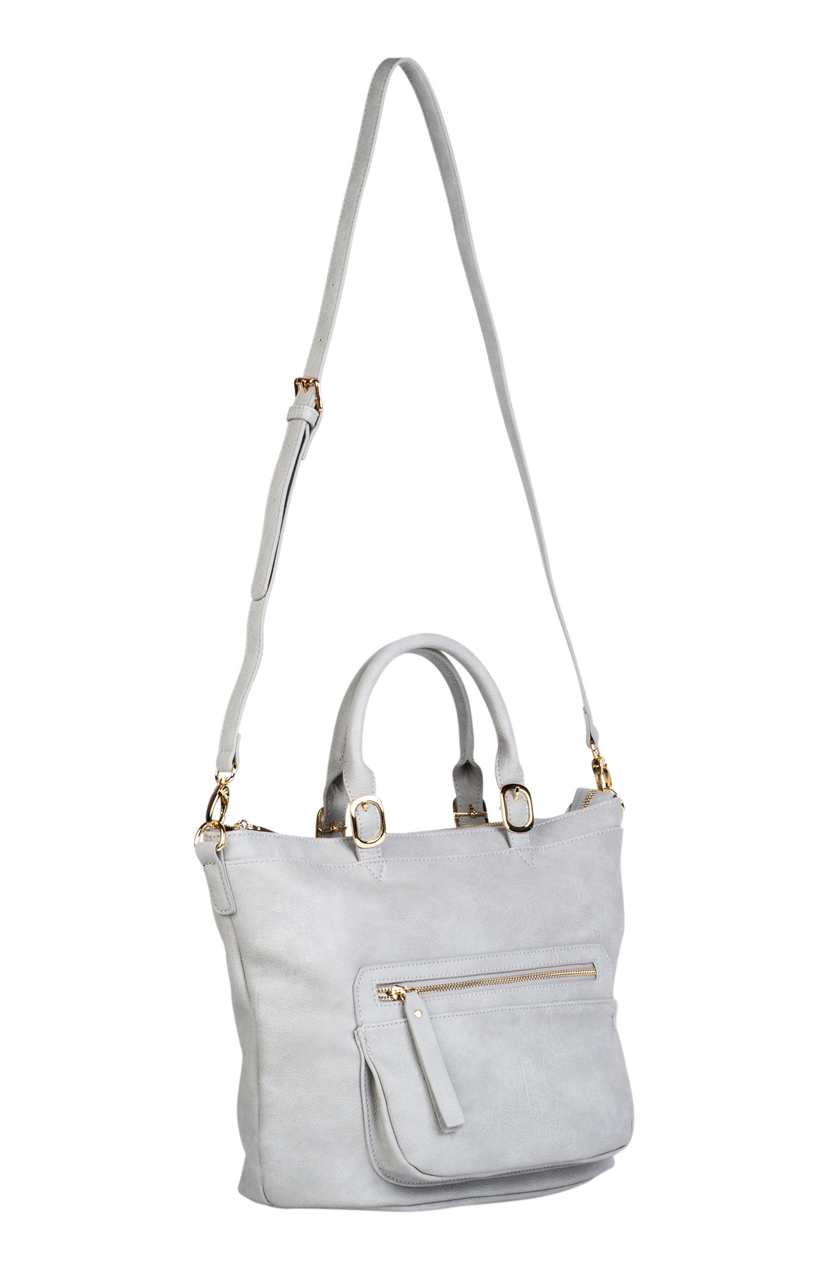 Illusion Vegan Leather Tote,                             Alternate thumbnail 3, color,                             Grey