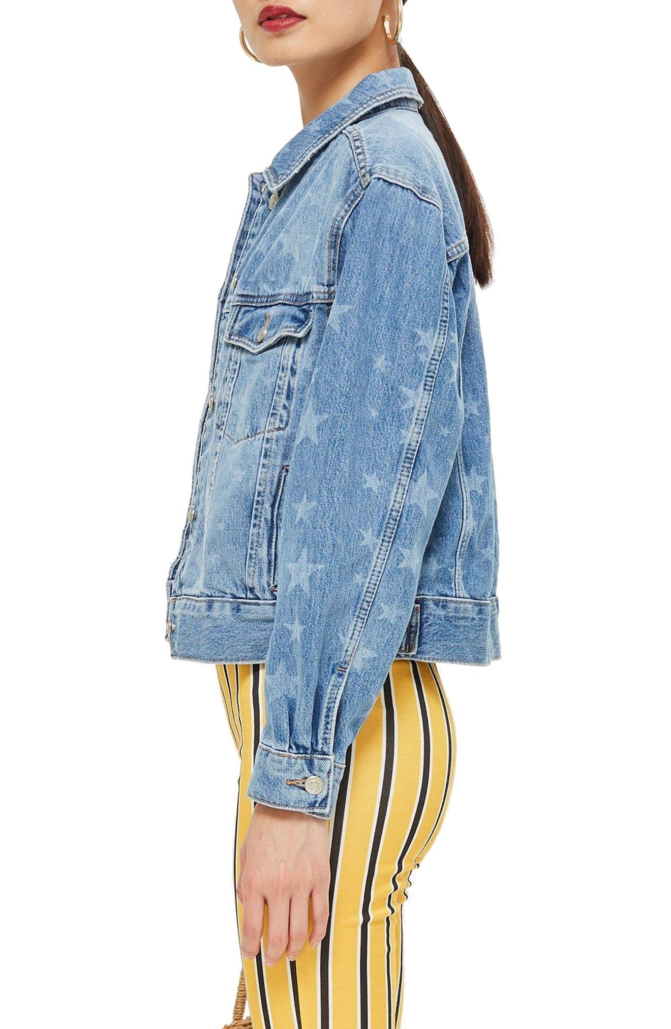 MOTO Laser Star Print Boxy Denim Jacket,                             Alternate thumbnail 3, color,                             Mid Denim Multi