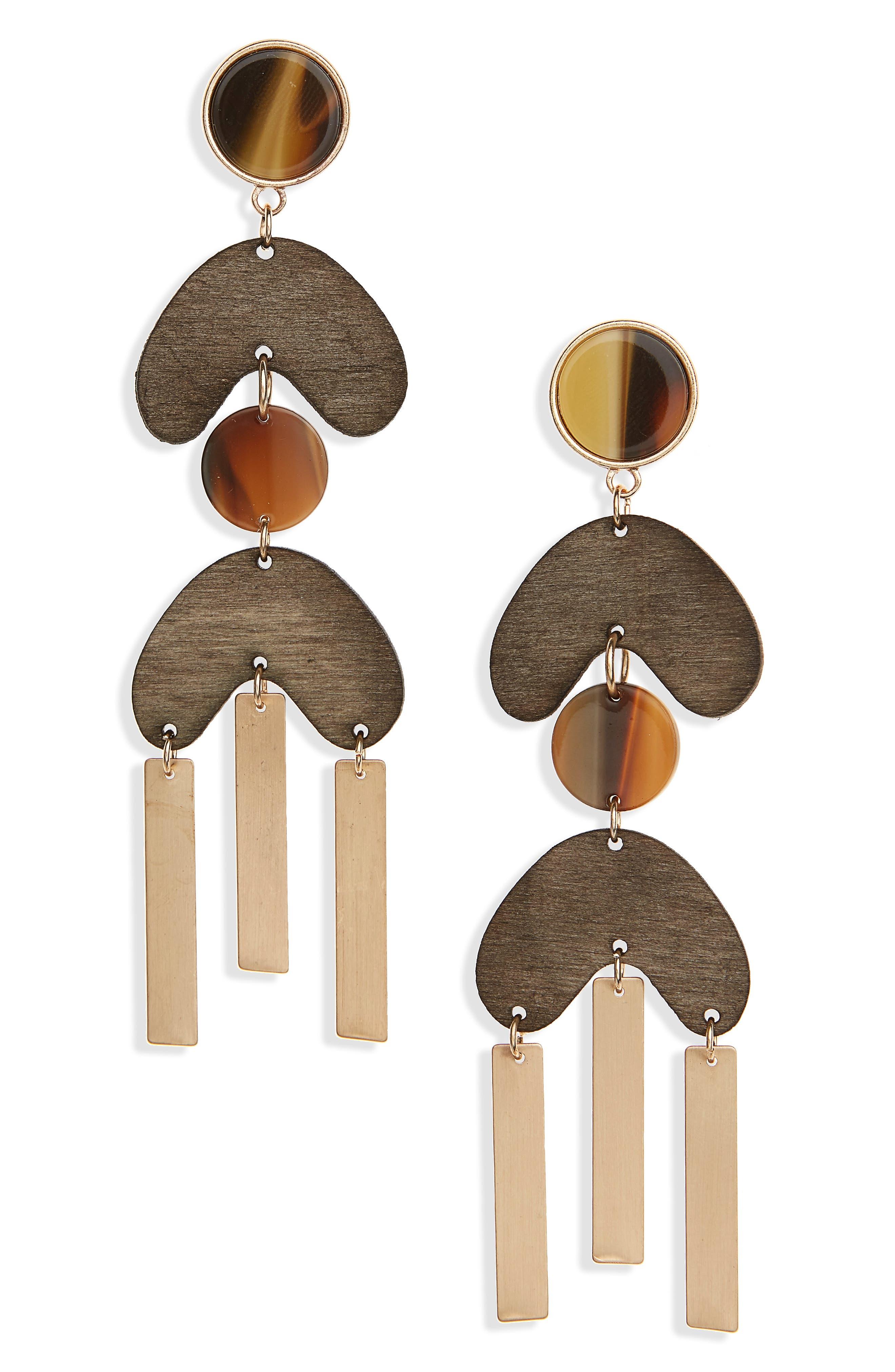 Wood & Metal Drop Earrings,                             Main thumbnail 1, color,                             Gold/ Brown