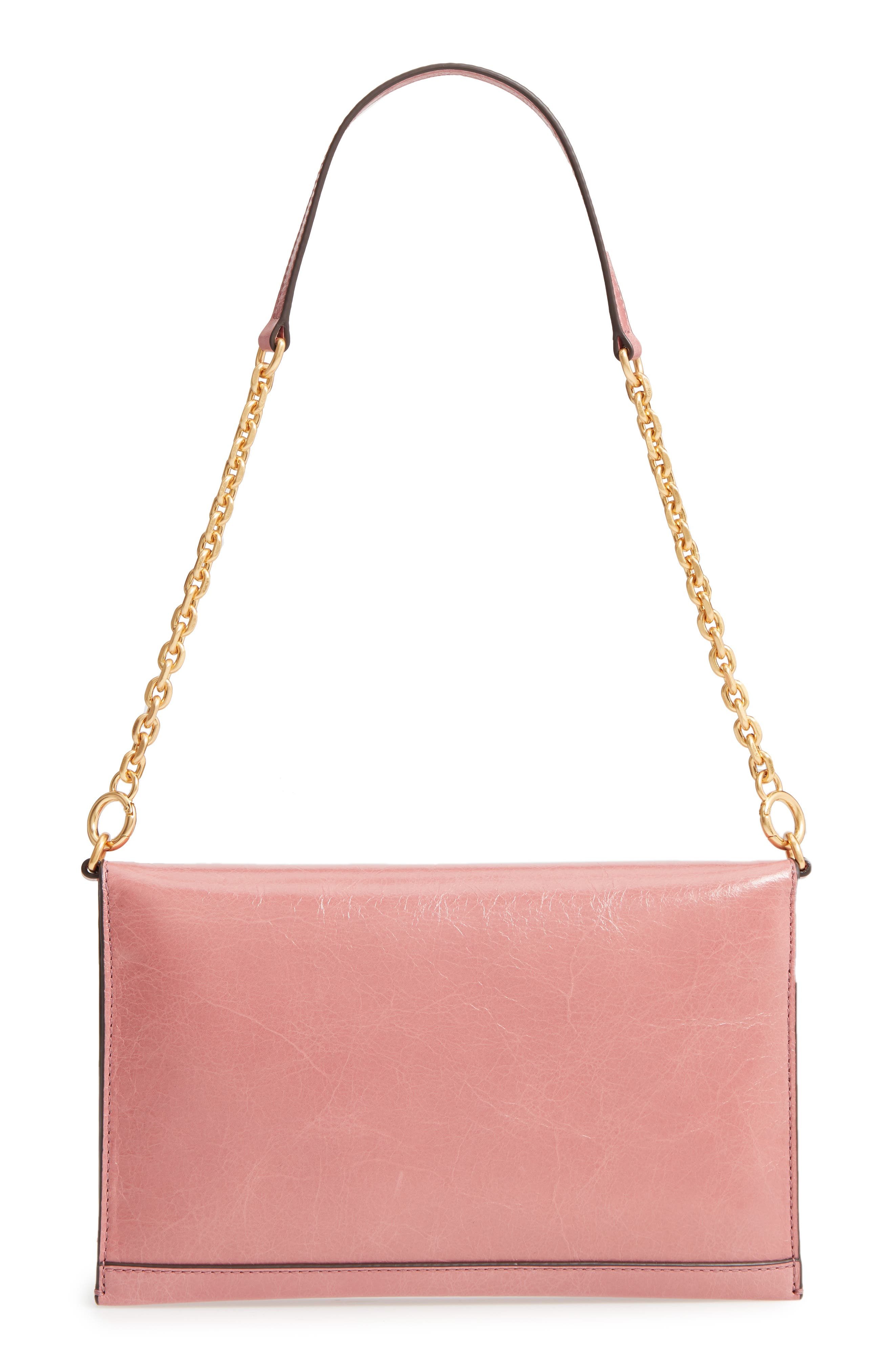 Kira Perforated Leather Clutch,                             Alternate thumbnail 3, color,                             Pink Magnolia