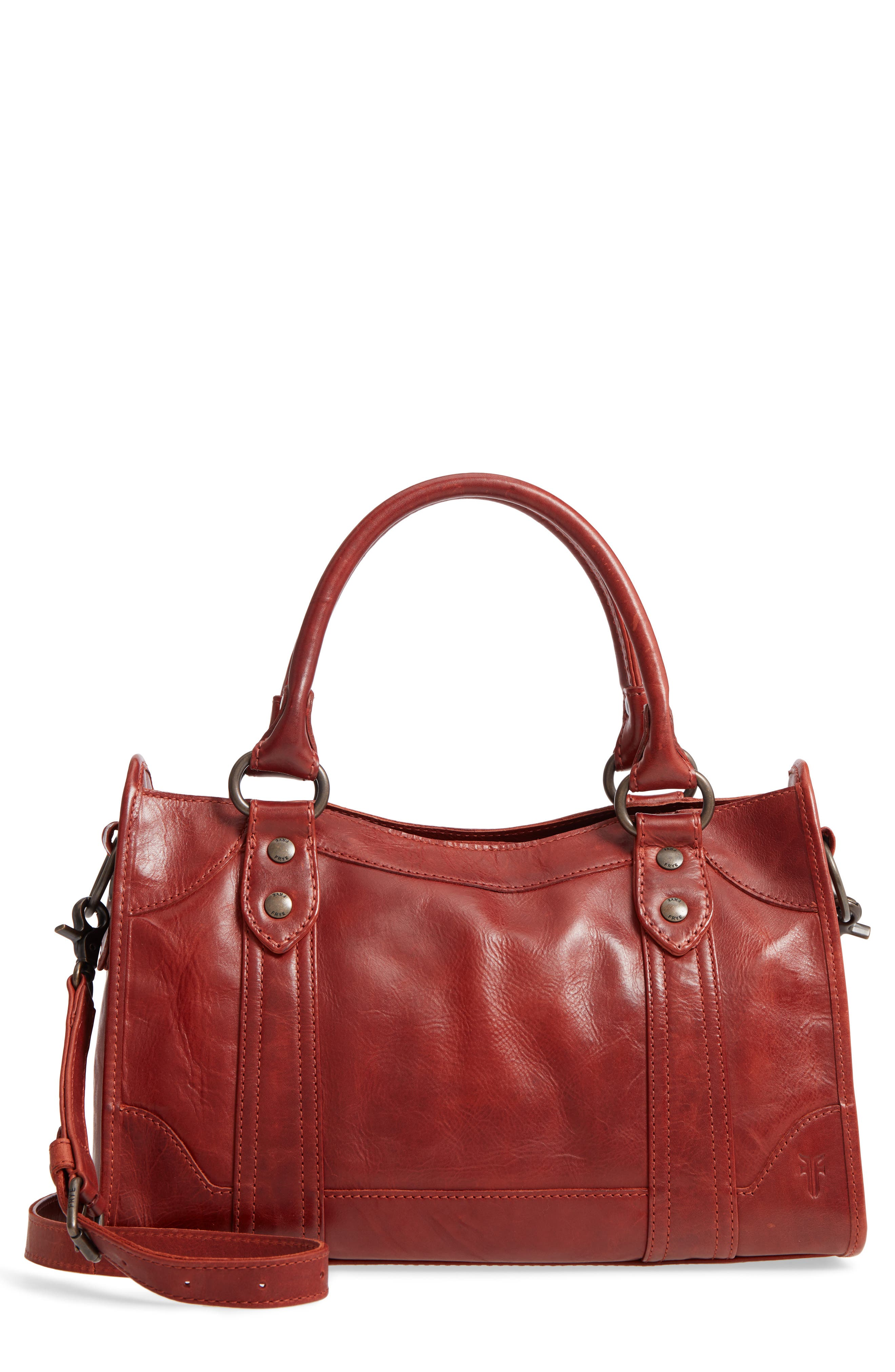 'Melissa' Washed Leather Satchel,                         Main,                         color, Red Clay