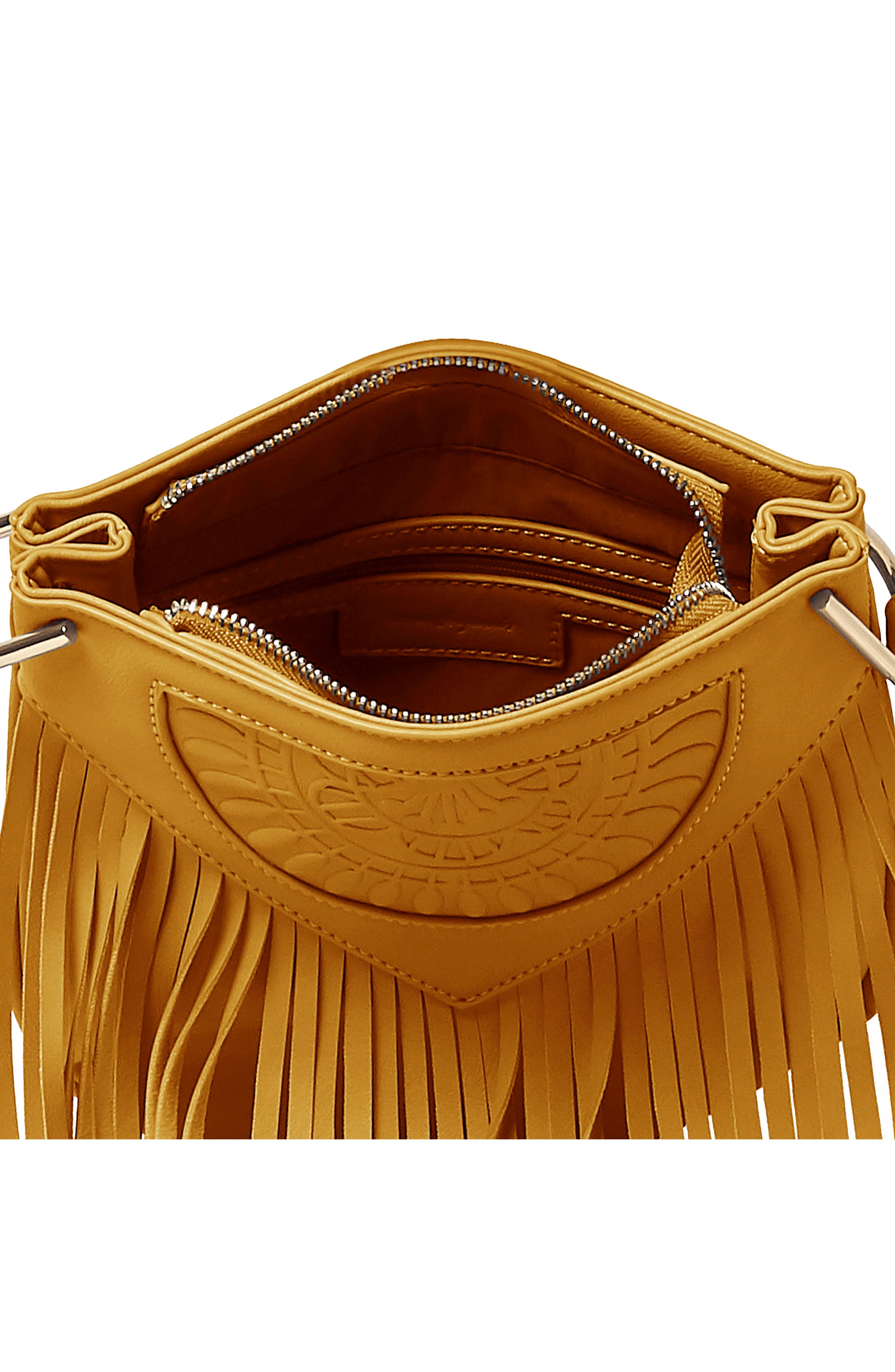 Rose Queen Vegan Leather Crossbody Bag,                             Alternate thumbnail 2, color,                             Mustard