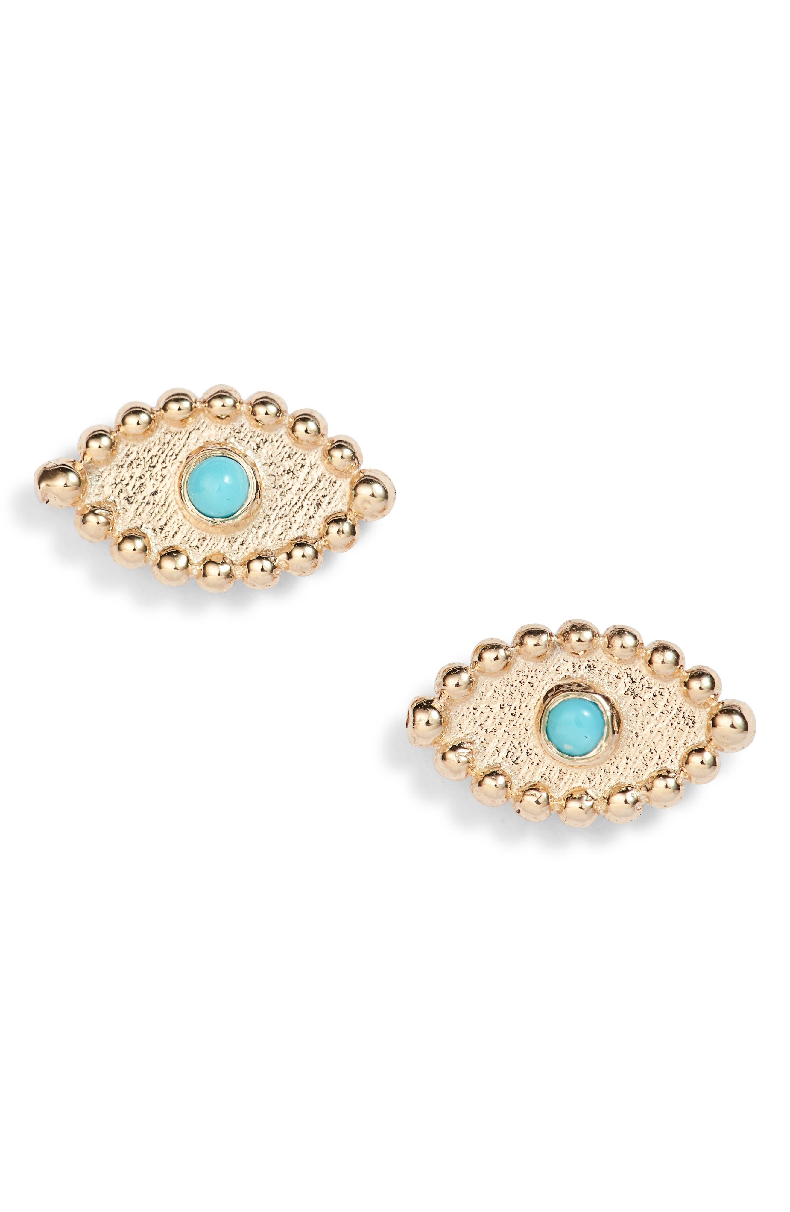 Dew Drop Evil Eye Earrings,                         Main,                         color, Gold