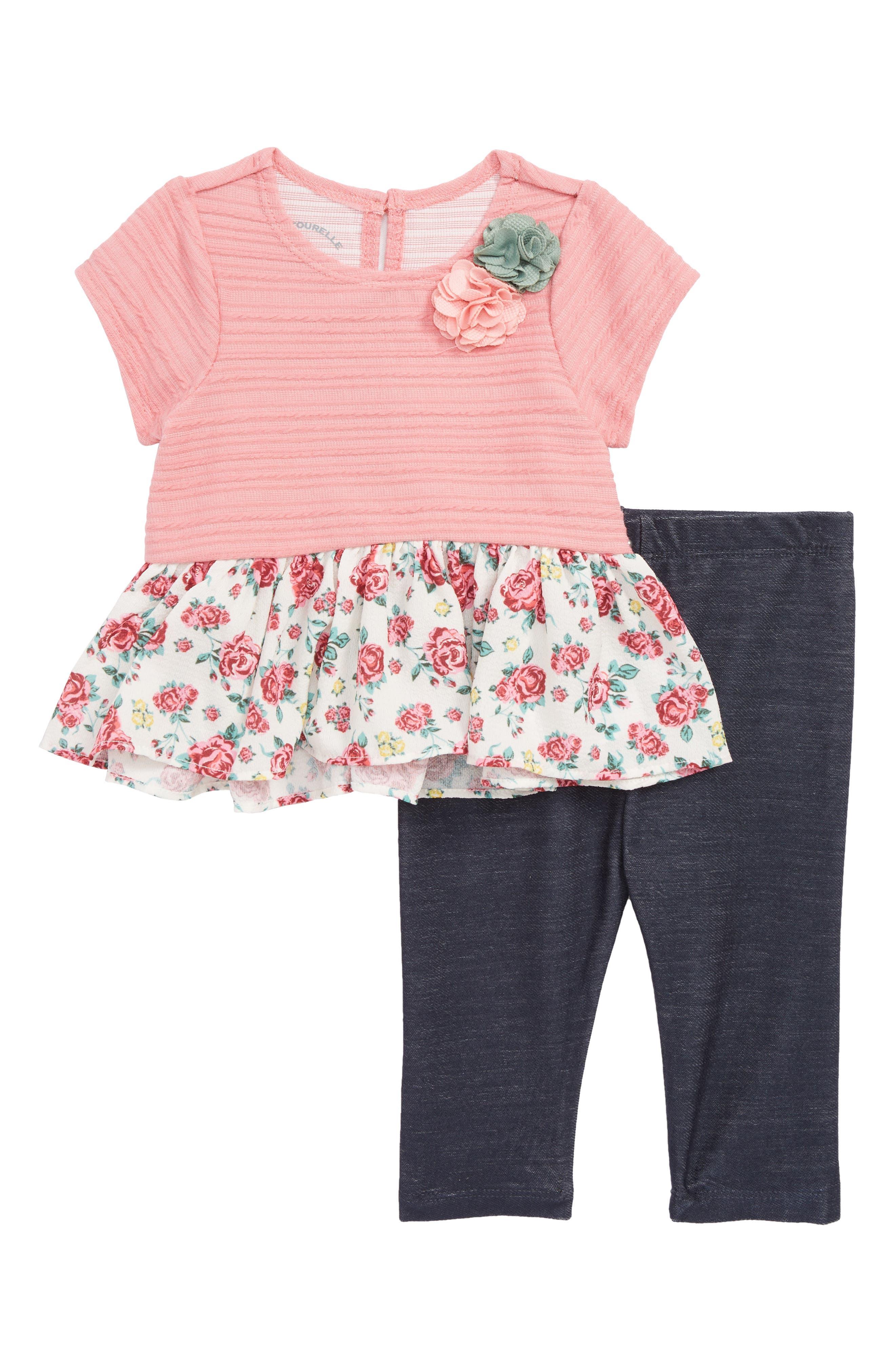 Floral Peplum Dress & Leggings Set,                         Main,                         color, Pink