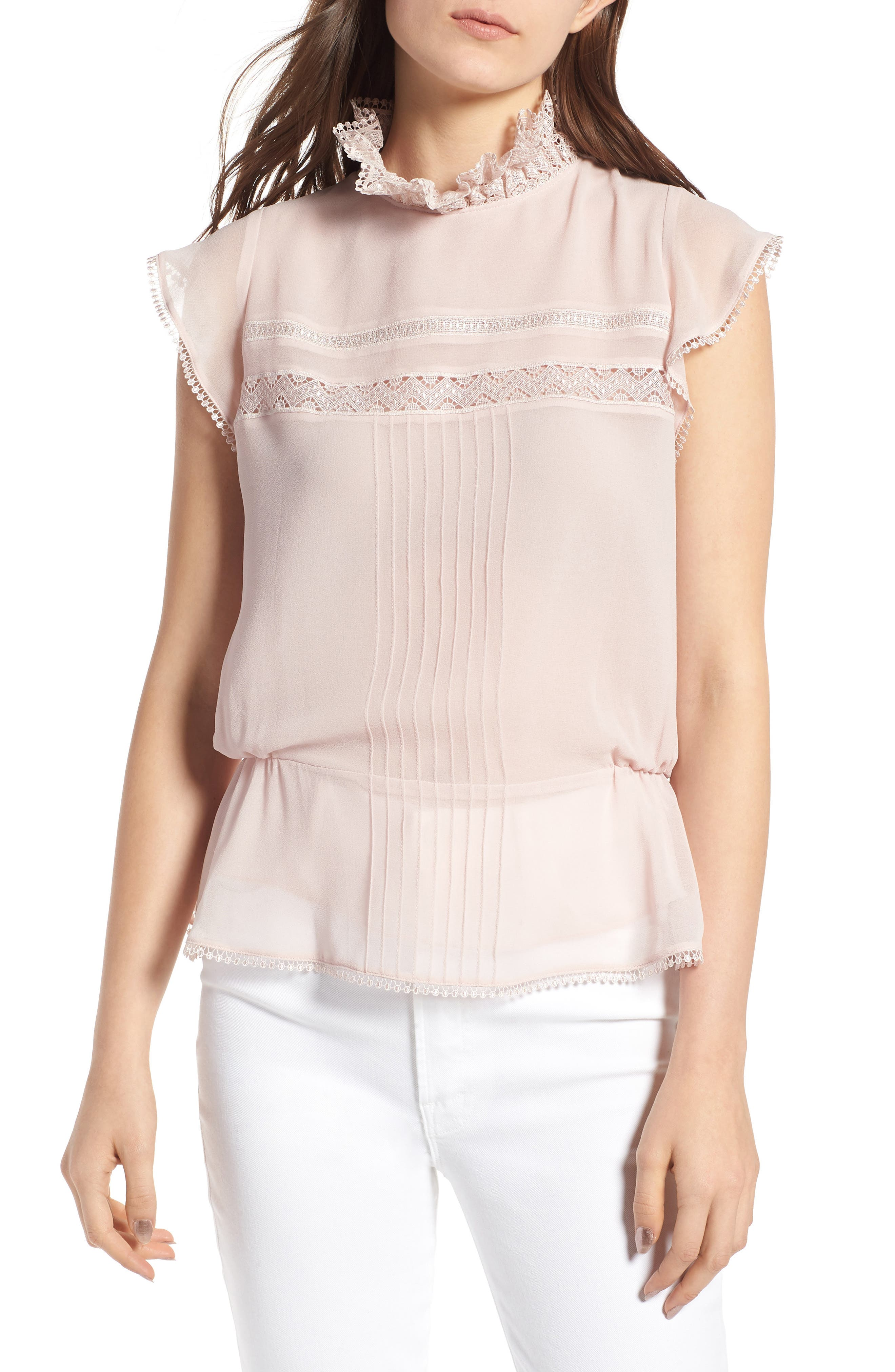 Pintuck & Lace Top,                         Main,                         color, Pink Hush