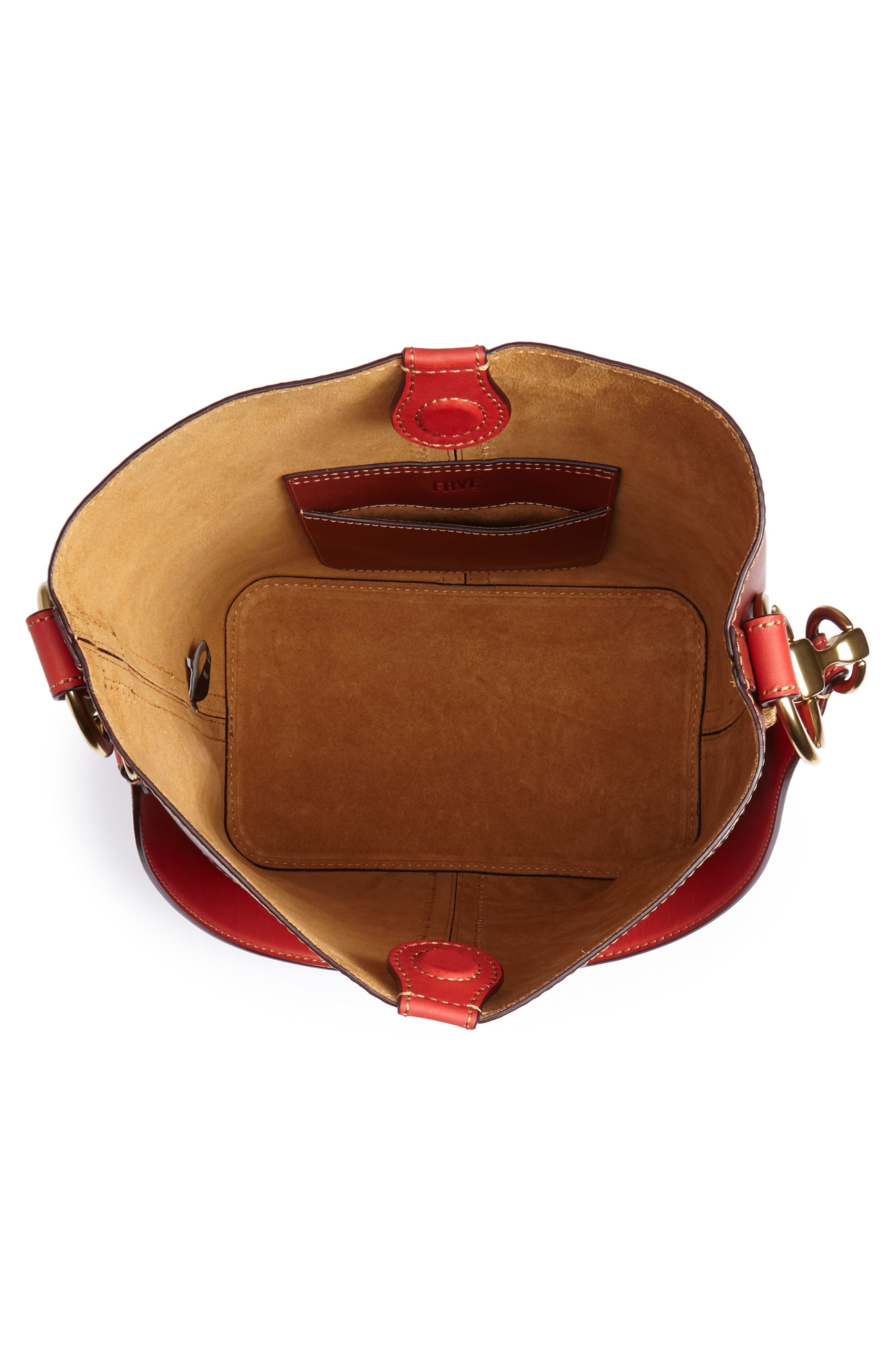 Ilana Colorblock Leather Bucket Hobo,                             Alternate thumbnail 4, color,                             Red Clay Multi