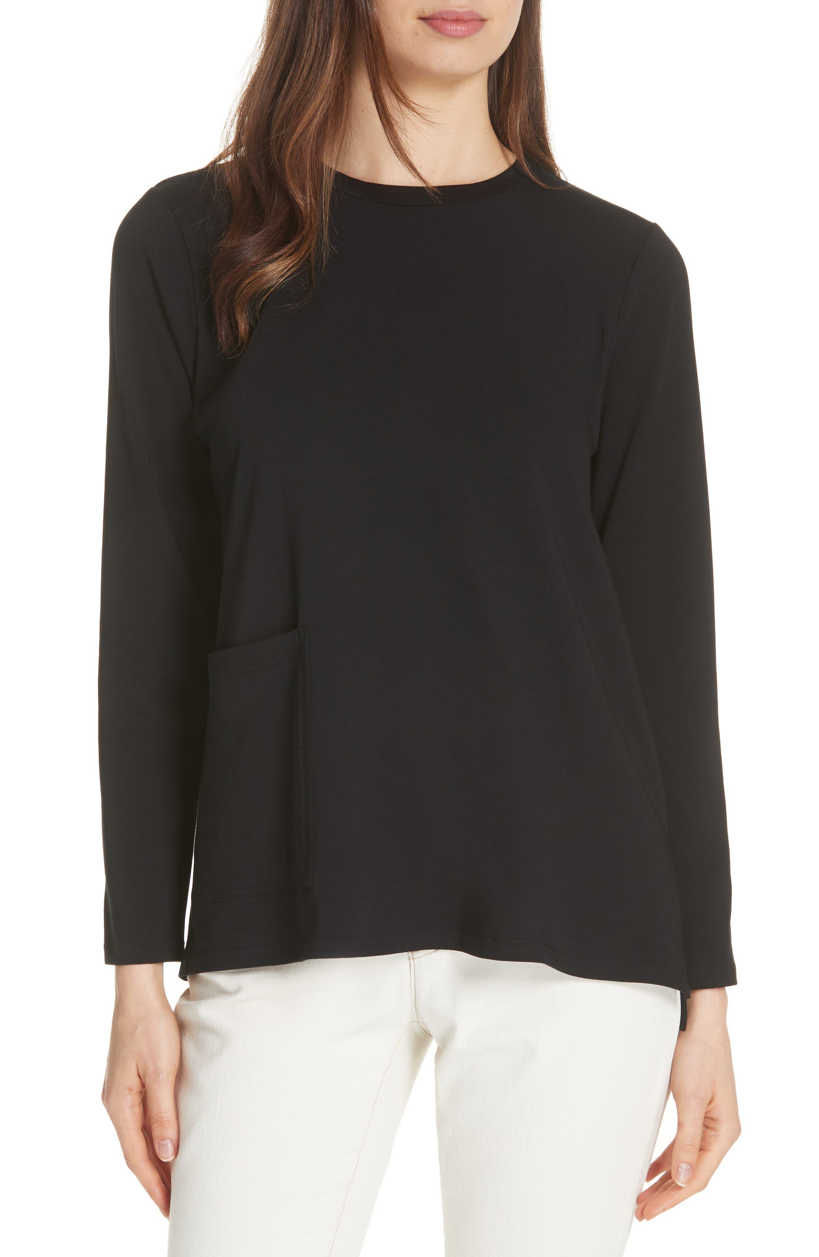 Knit Pocket Top,                         Main,                         color, Black