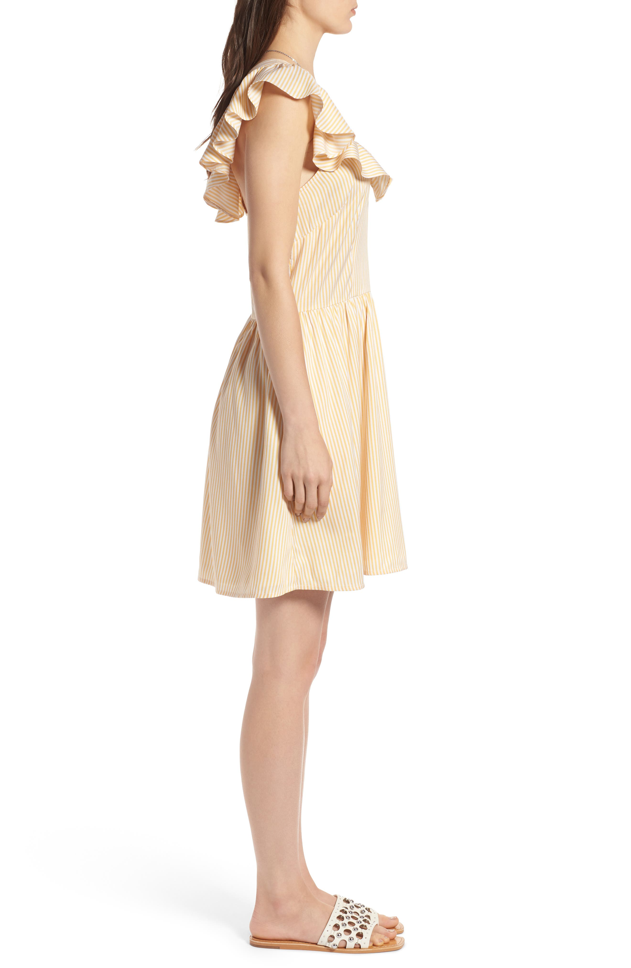 Ruffle Dress,                             Alternate thumbnail 3, color,                             Yellow Gleam Stratus Stripe