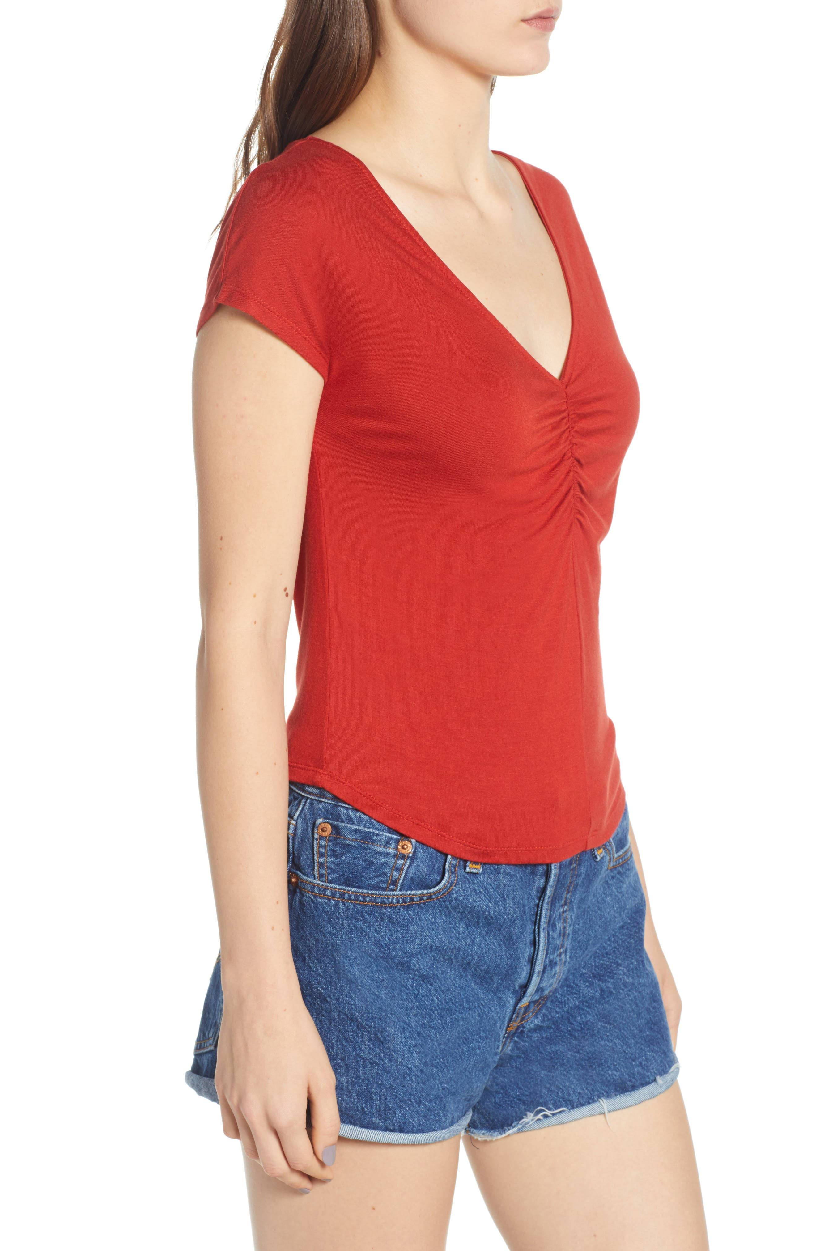 Cinch Front Tee,                             Alternate thumbnail 6, color,                             Red