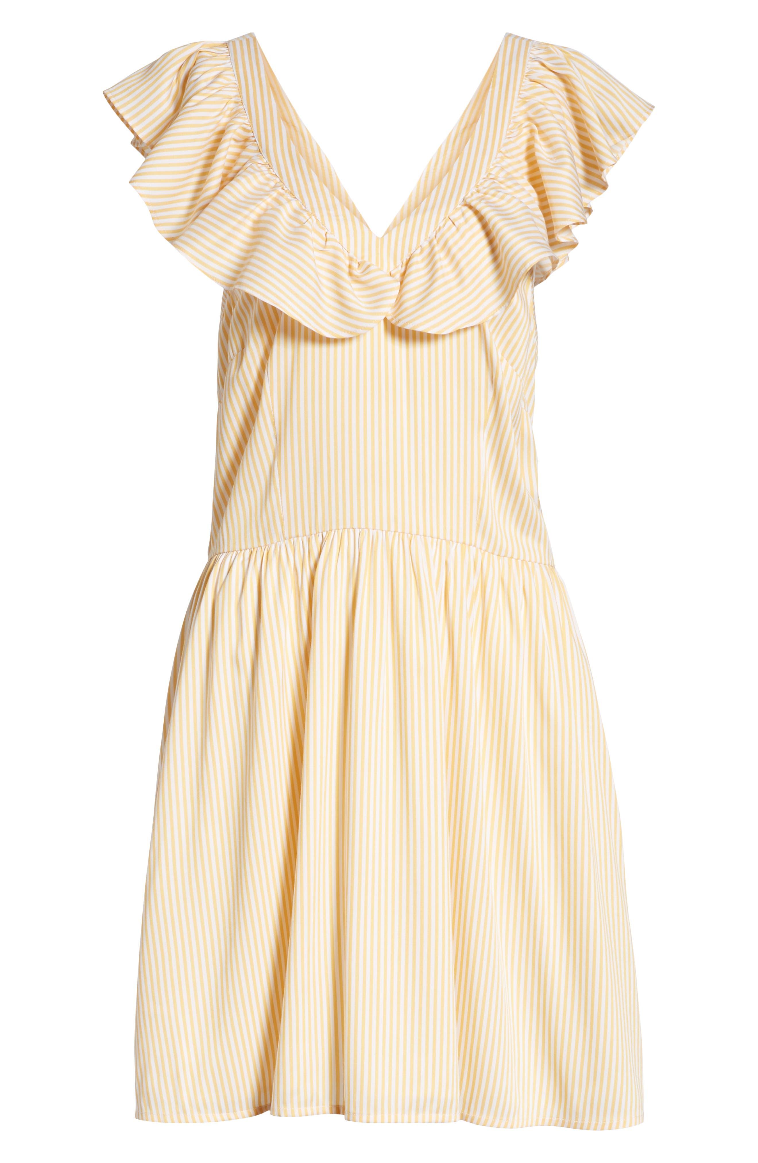Ruffle Dress,                             Alternate thumbnail 7, color,                             Yellow Gleam Stratus Stripe