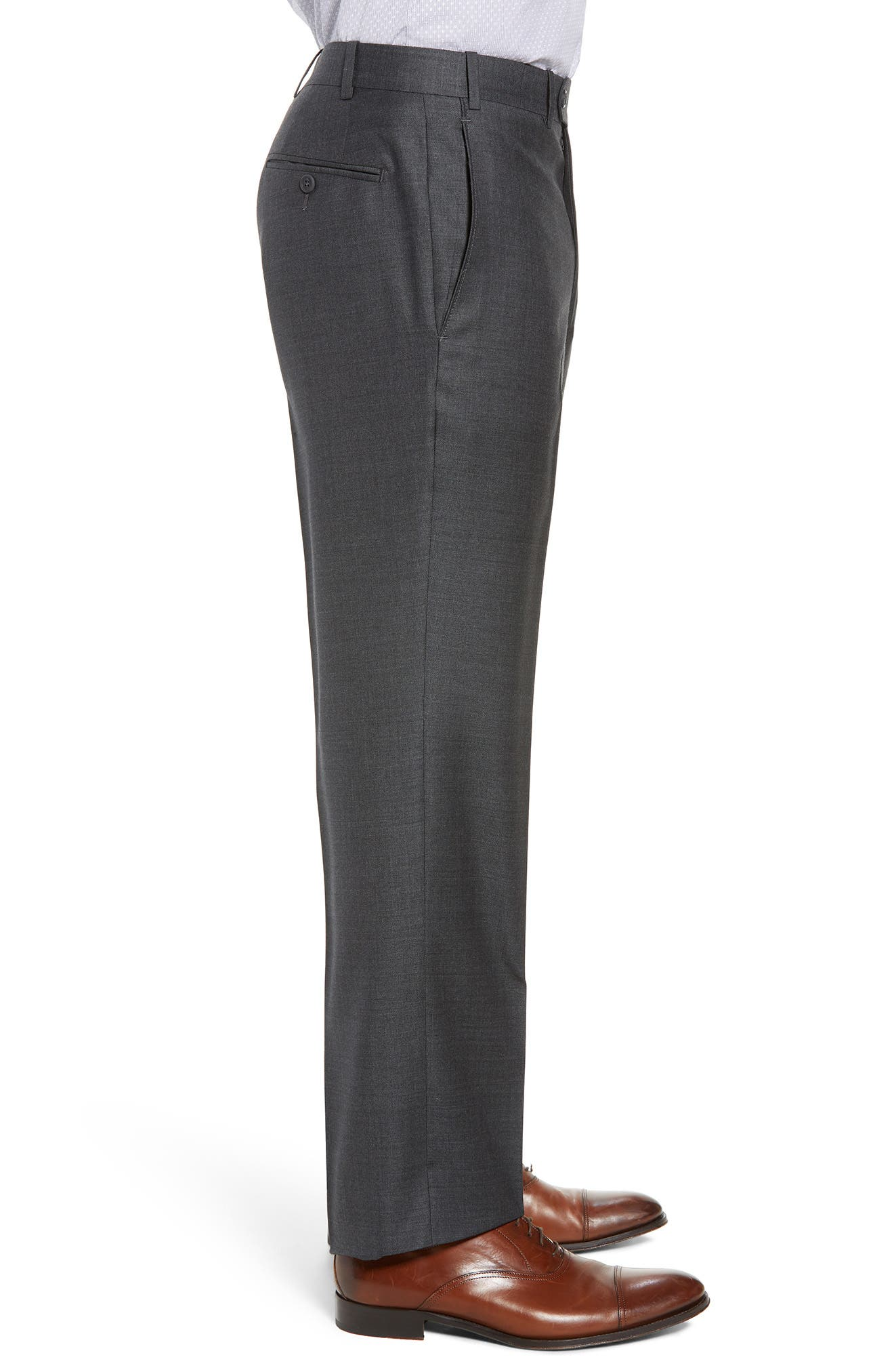 Torino Flat Front Solid Wool Trousers,                             Alternate thumbnail 3, color,                             Charcoal
