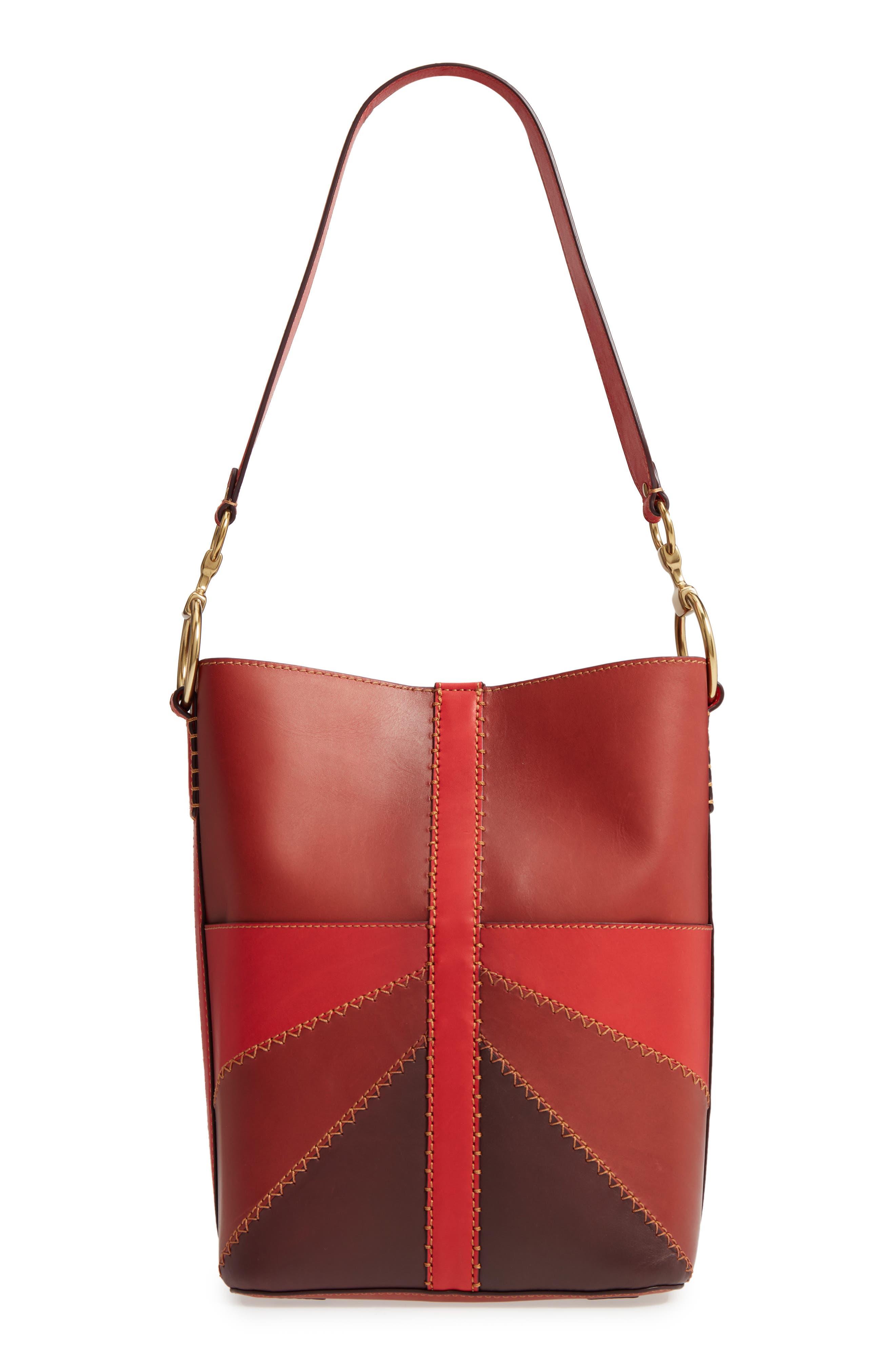 Ilana Colorblock Leather Bucket Hobo,                         Main,                         color, Red Clay Multi
