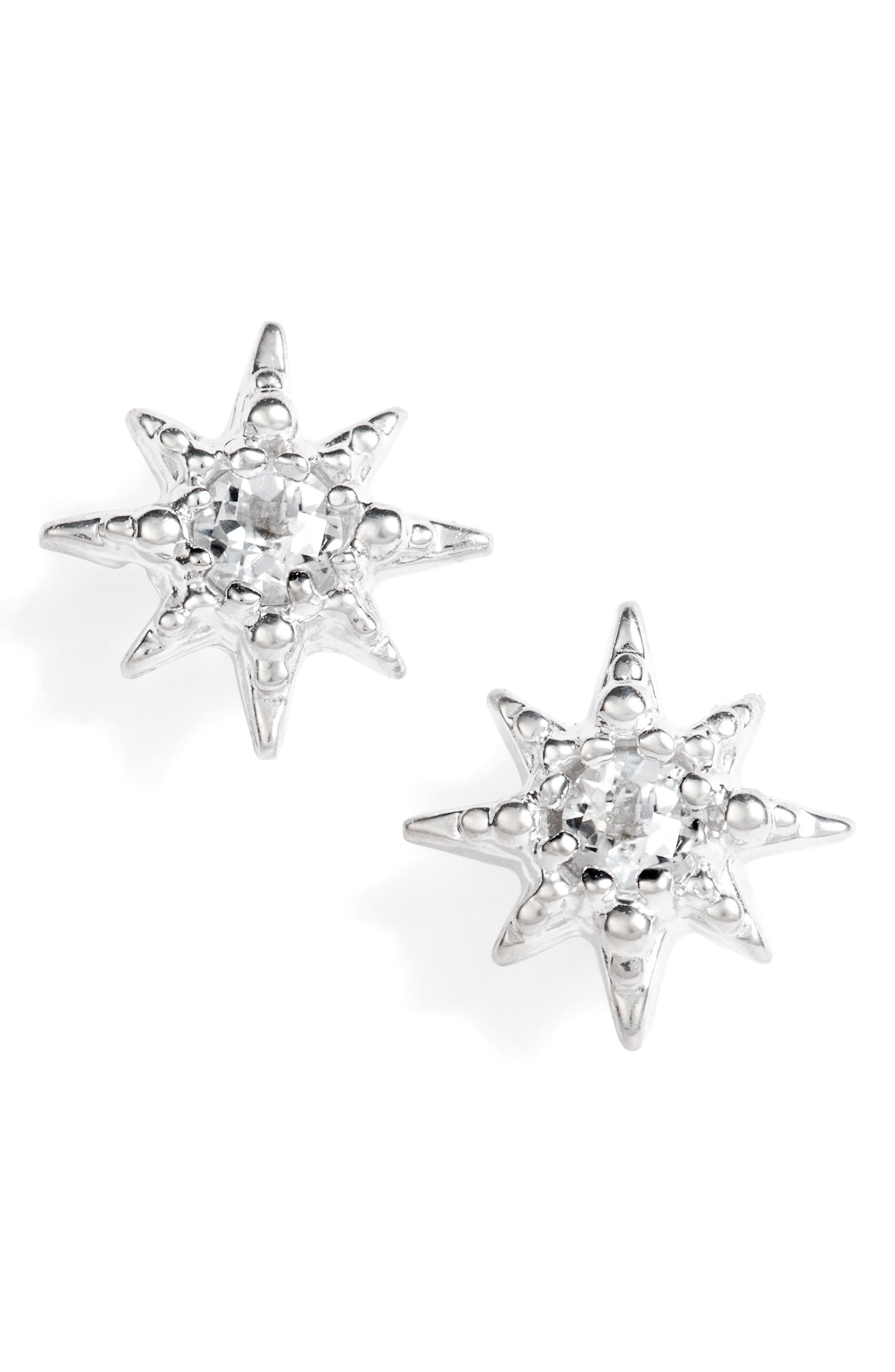 Micro Aztec Starburst Earrings,                             Main thumbnail 1, color,                             Silver