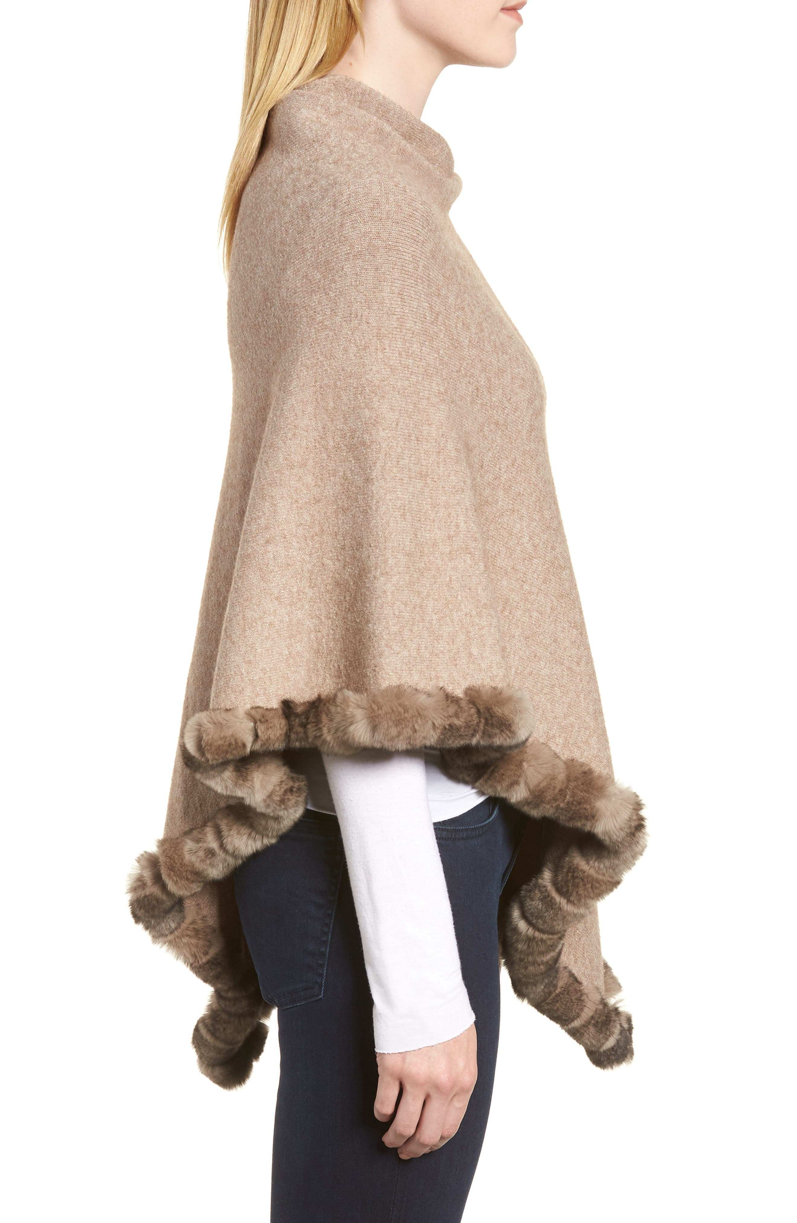 Angled Poncho with Genuine Rabbit Fur Trim,                             Alternate thumbnail 3, color,                             Oatmeal