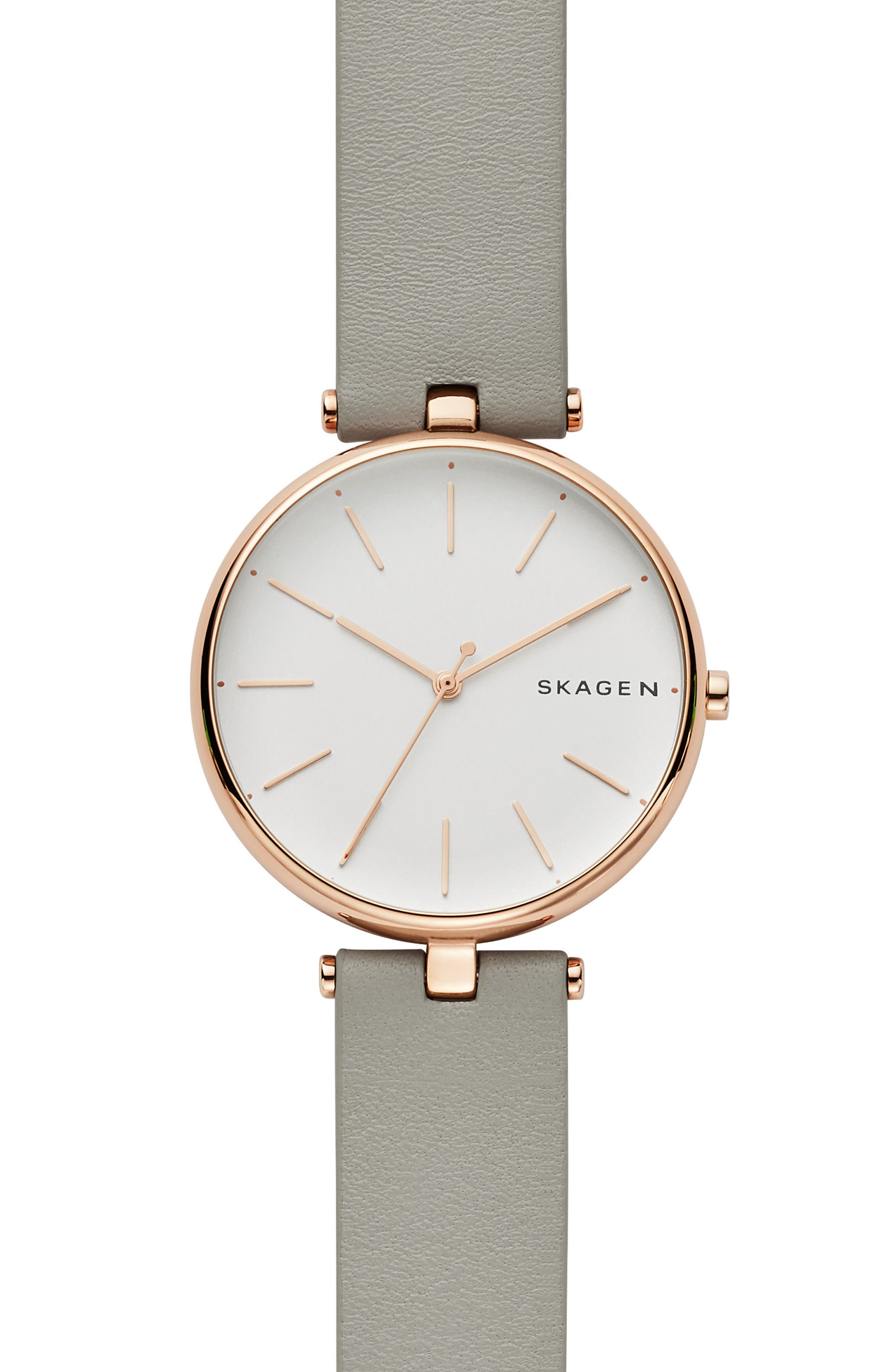 SKAGEN SIGNATUR LEATHER STRAP WATCH, 36MM
