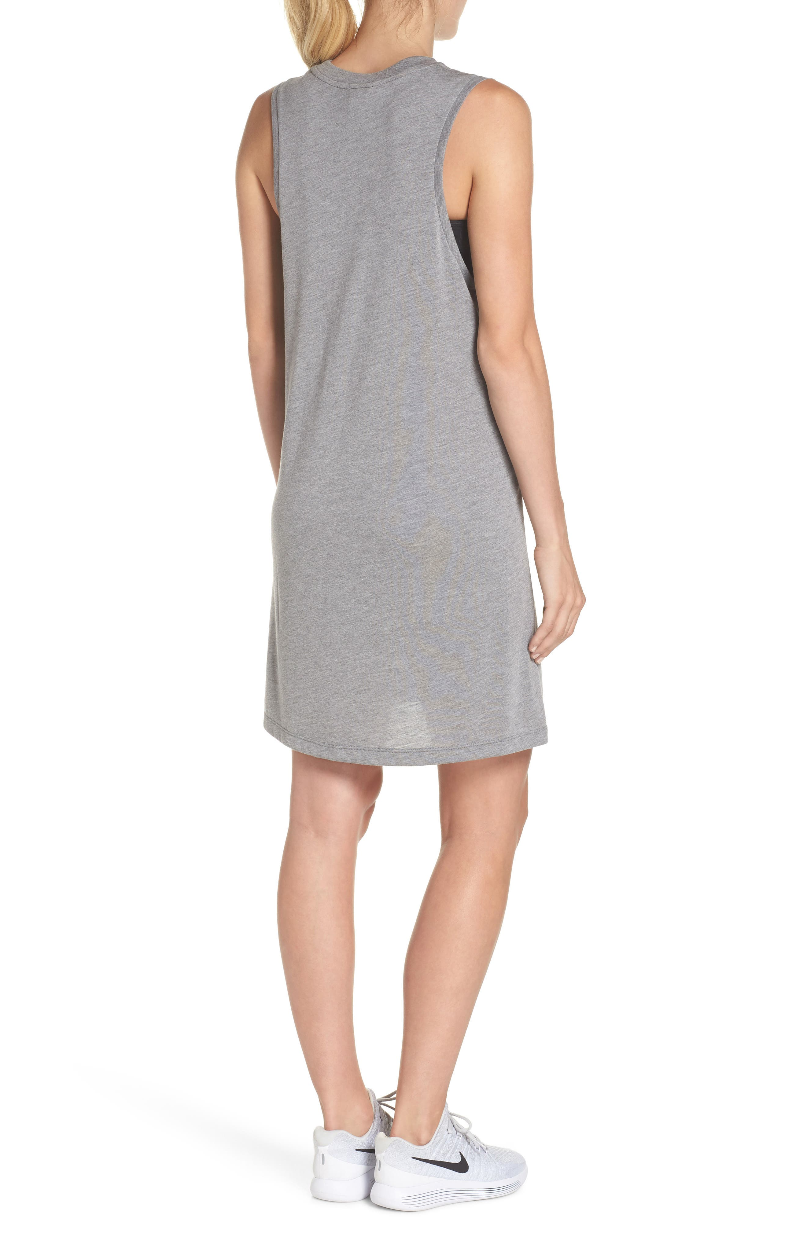 Sportswear Sleeveless Dress,                             Alternate thumbnail 2, color,                             Carbon Heather/ Crimson Pulse